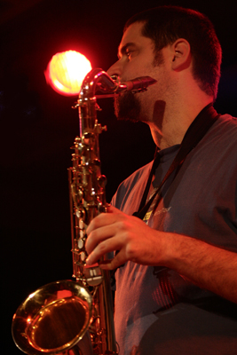 """Dave Rempis with """"Vandermark 5"""" at the Sud Des Alpes, Amr, Geneva, Switzerland, 2005"""