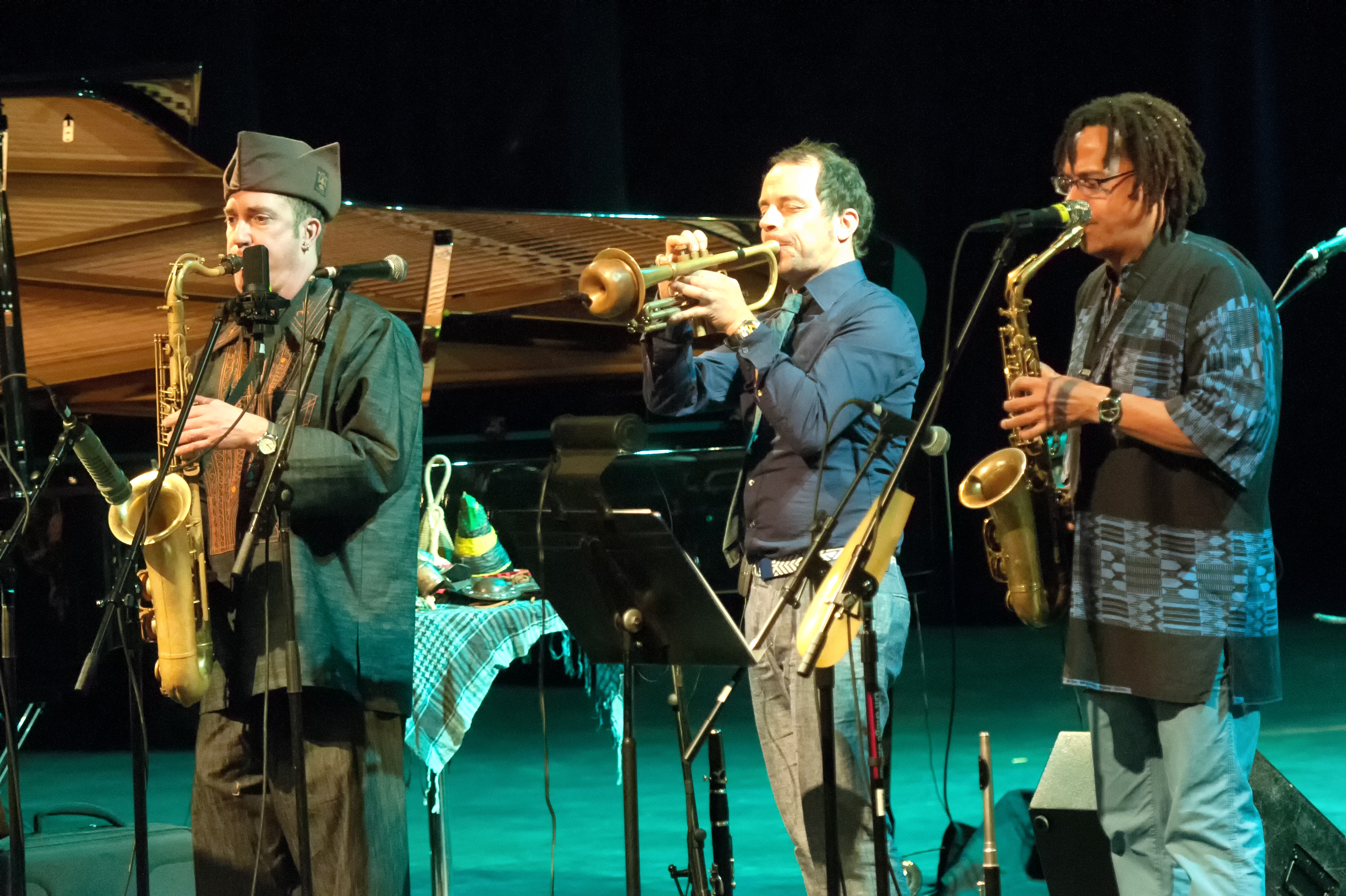 Peter apfelbaum, joo kraus and leandro saint-hill with omar sosa and the afri-lectric experience at the tempe arts center