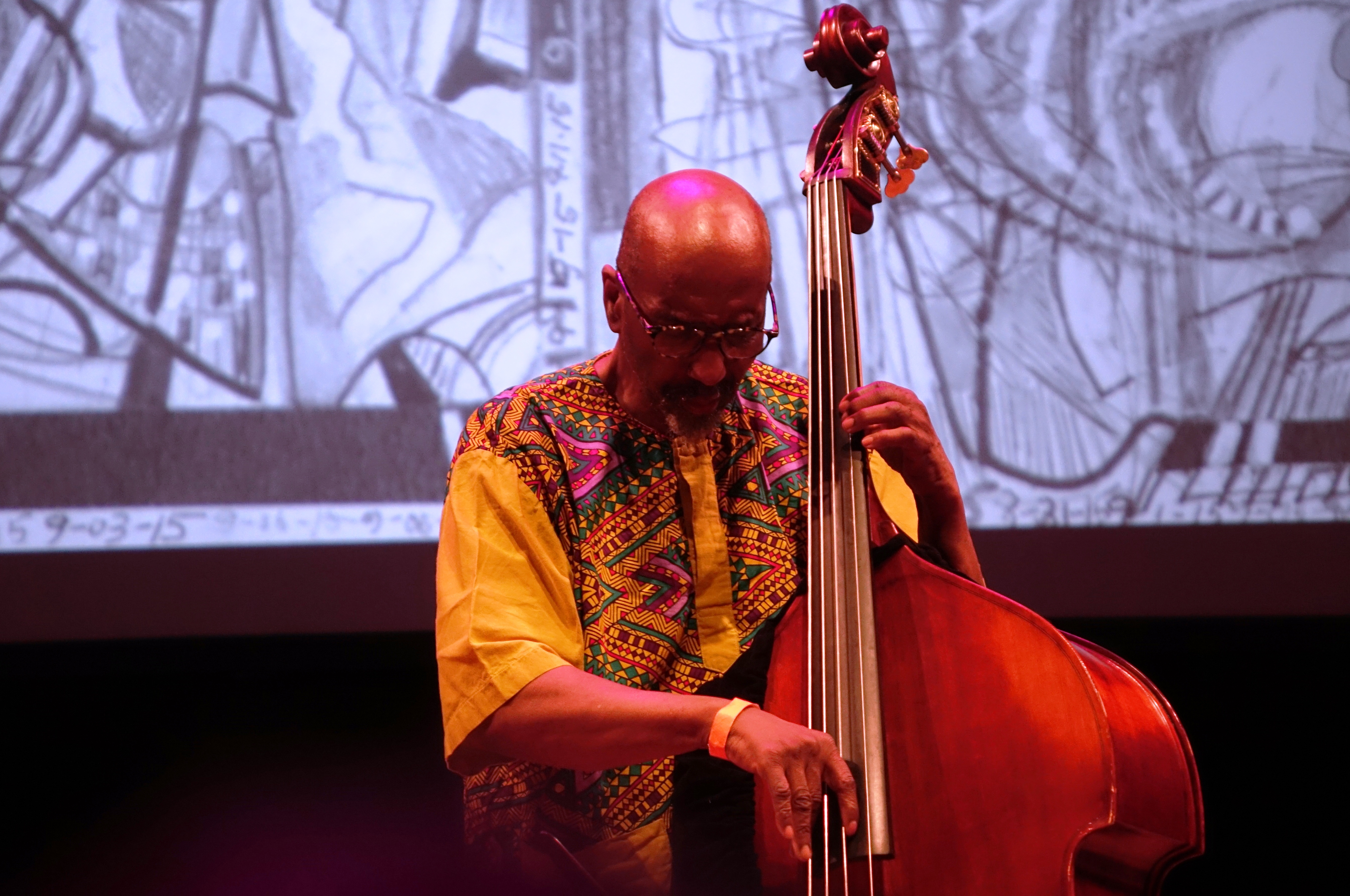 William Parker at the Vision Festival at Roulette, Brooklyn in May 2018