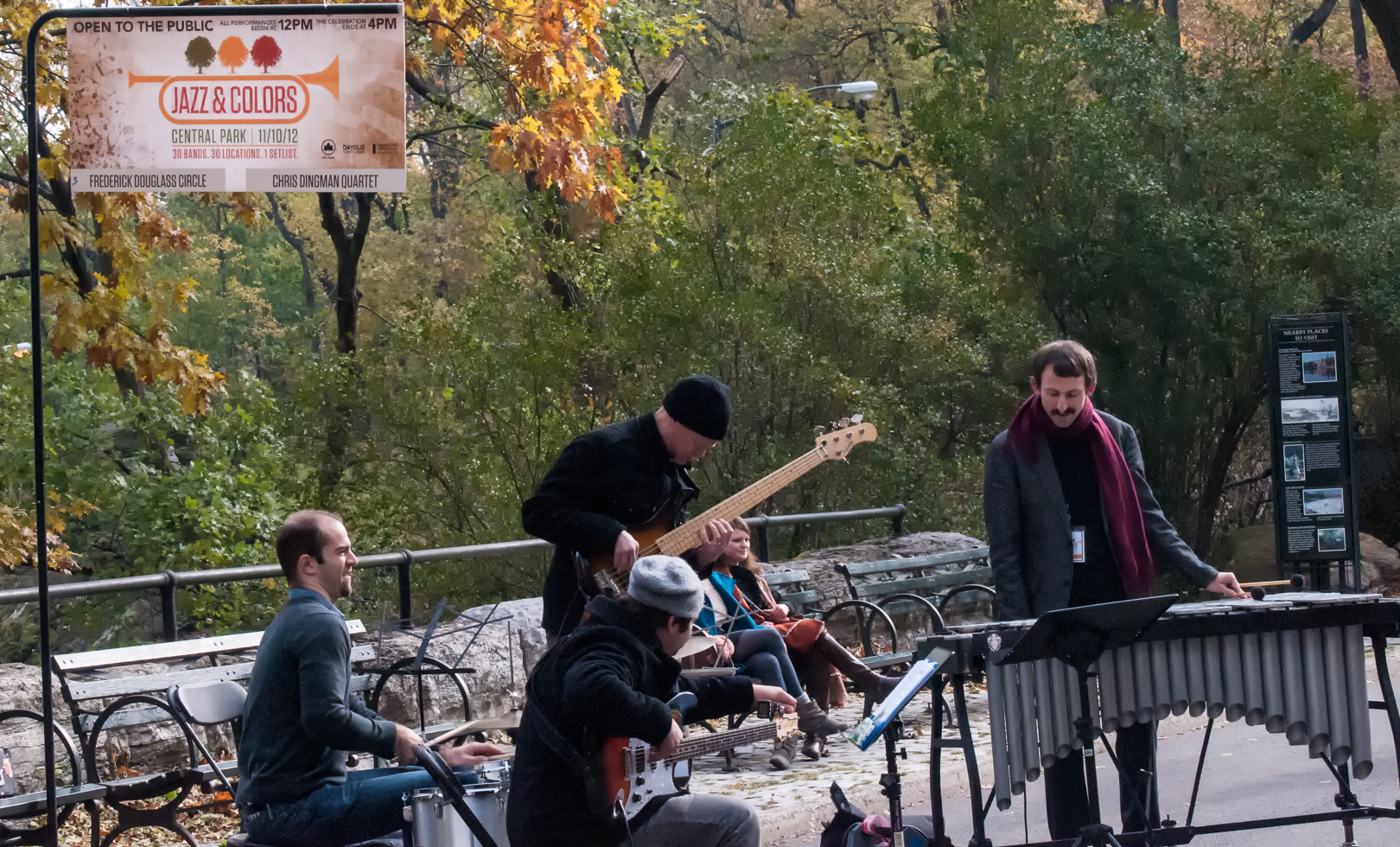 Jared Schonig, Jesse Lewis, Ike Sturm and Chris Dingman at Jazz and Colors in Central Park