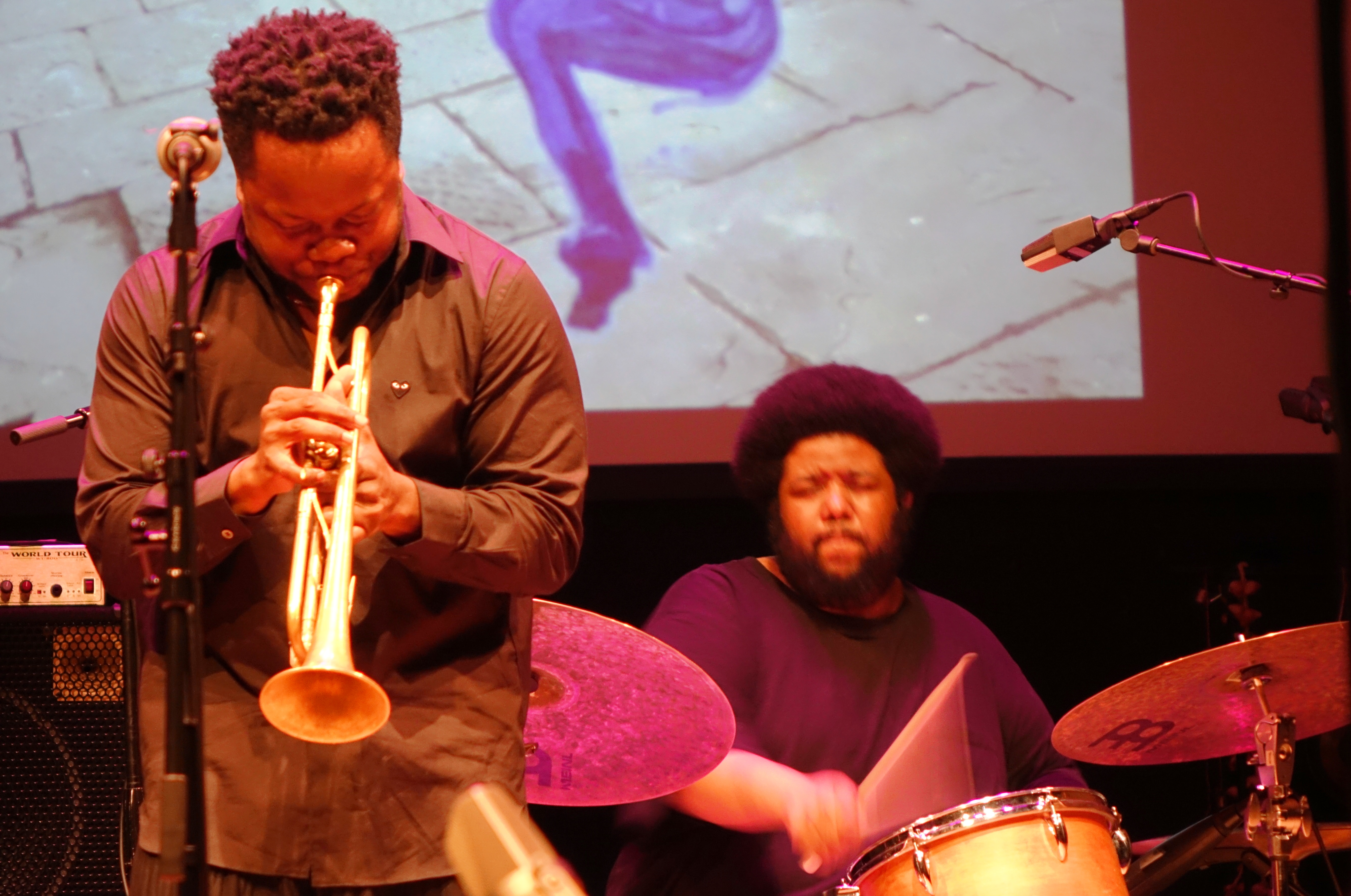 Ambrose Akinmusire and Tyshawn Sorey at the Vision Festival at Roulette, Brooklyn in May 2018