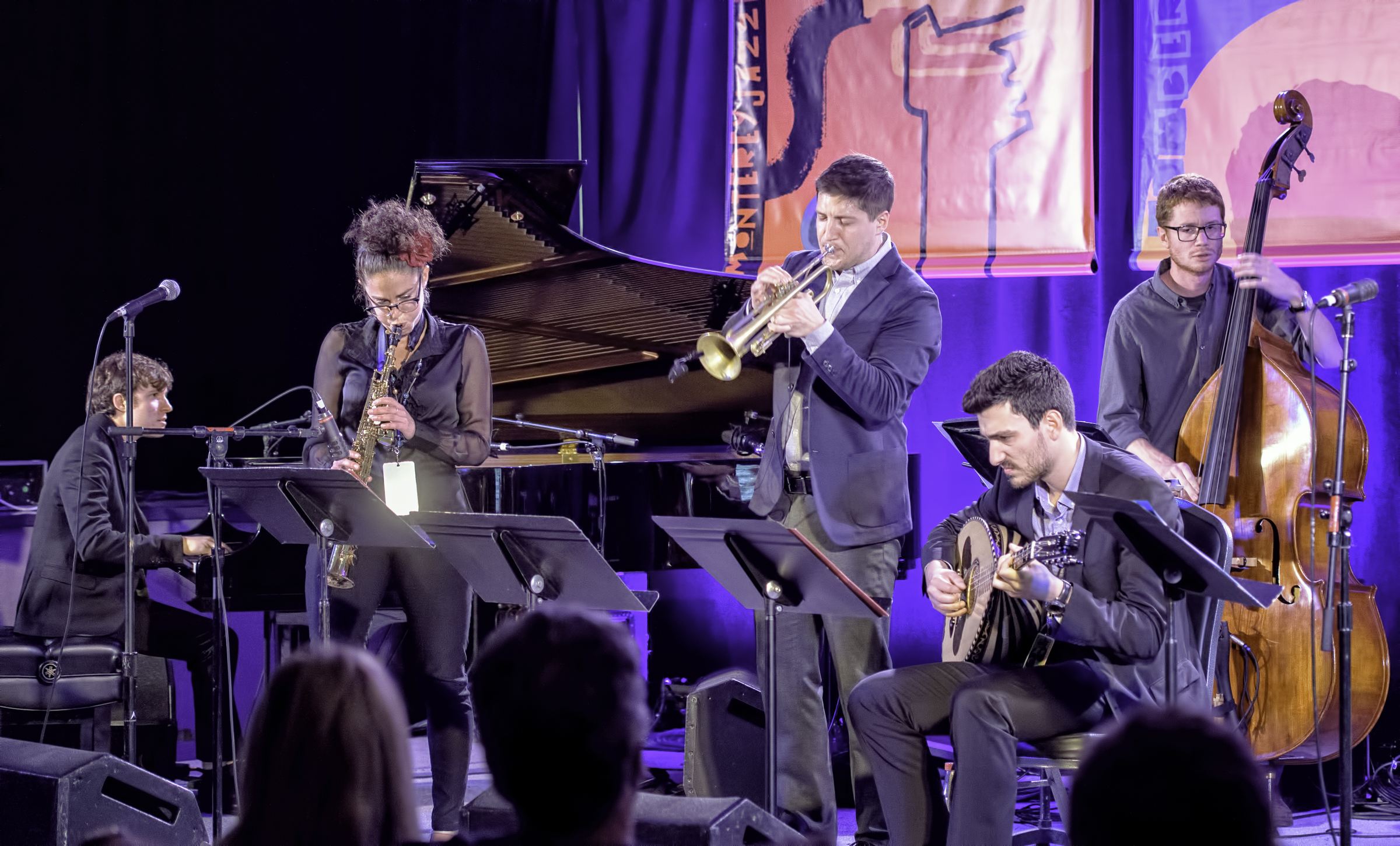 Chase Morrin, Lihi Haruvi, Andrew McAnsh, Vasilis Kostas and Jared Henderson with the Berklee Global Jazz Ambassadors at the Monterey Jazz Festival