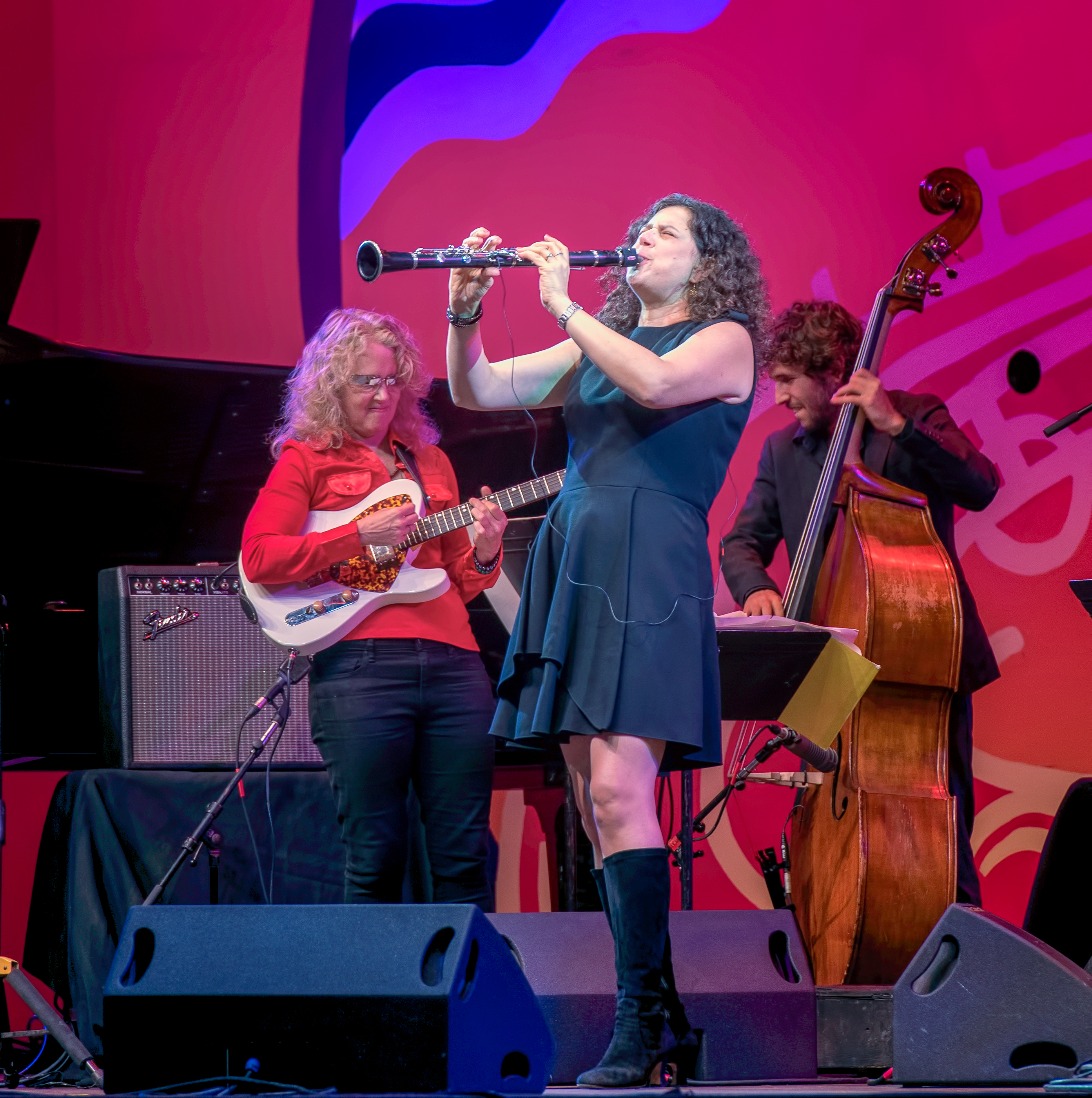 Sheryl Bailey, Anat Cohen and Tal Mashiach with the Anat Cohen Tentet at the Monterey Jazz Festival 2018