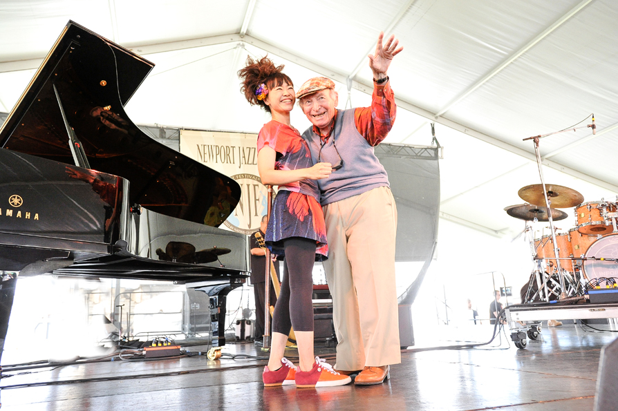 Hiromi and george wein at the newport jazz festival 2013