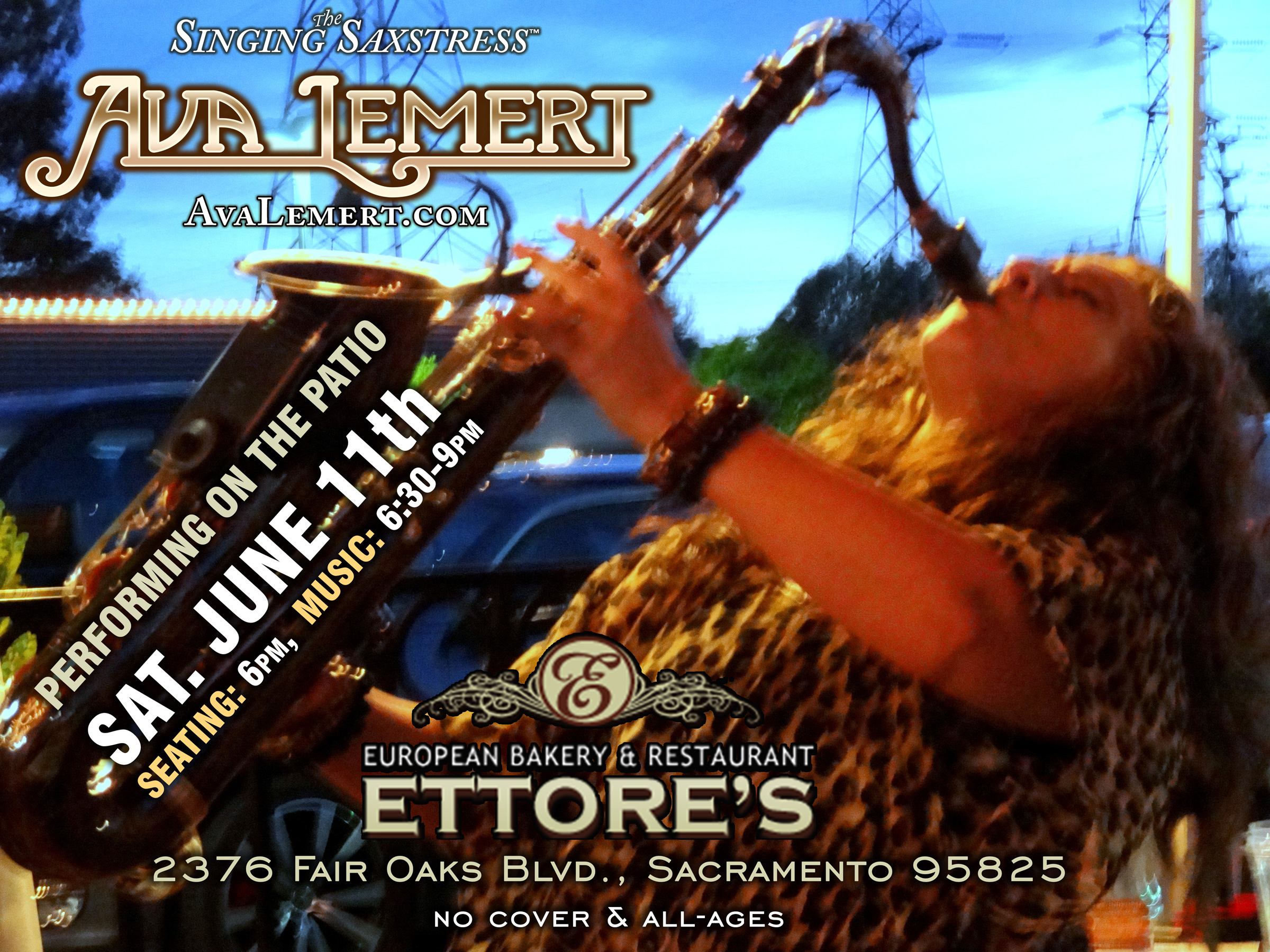 Ava Performing at Ettore's Sat. 6/11 6:30-9pm