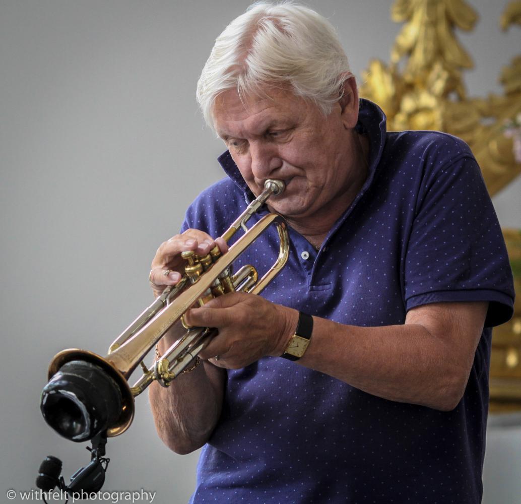 Palle Mikkelborg at Copenhagen Jazz Festival 2016 in Kastelskirken. Copenhagen, Denmark