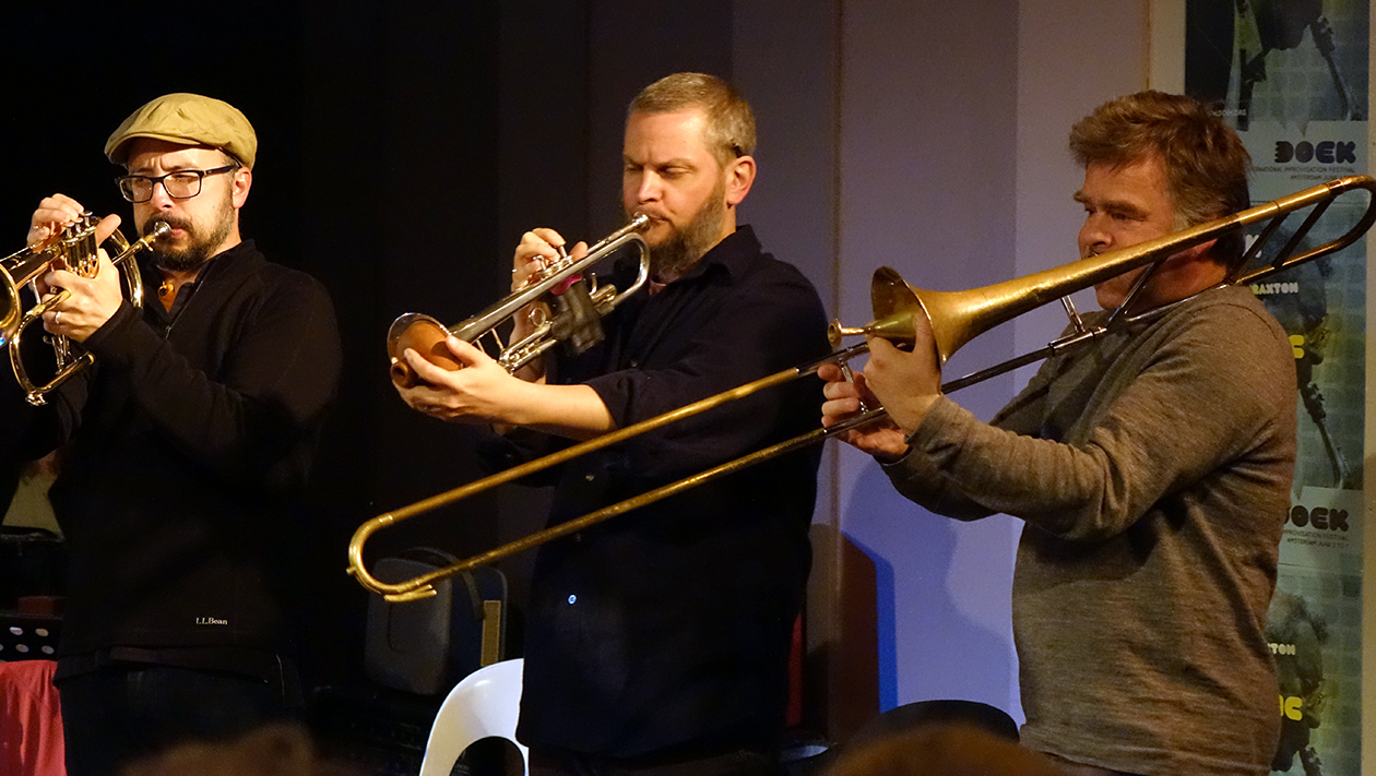 Taylor ho Bynum, Nate Wooley, and Wolter Wierbos at Doek Festival 2015