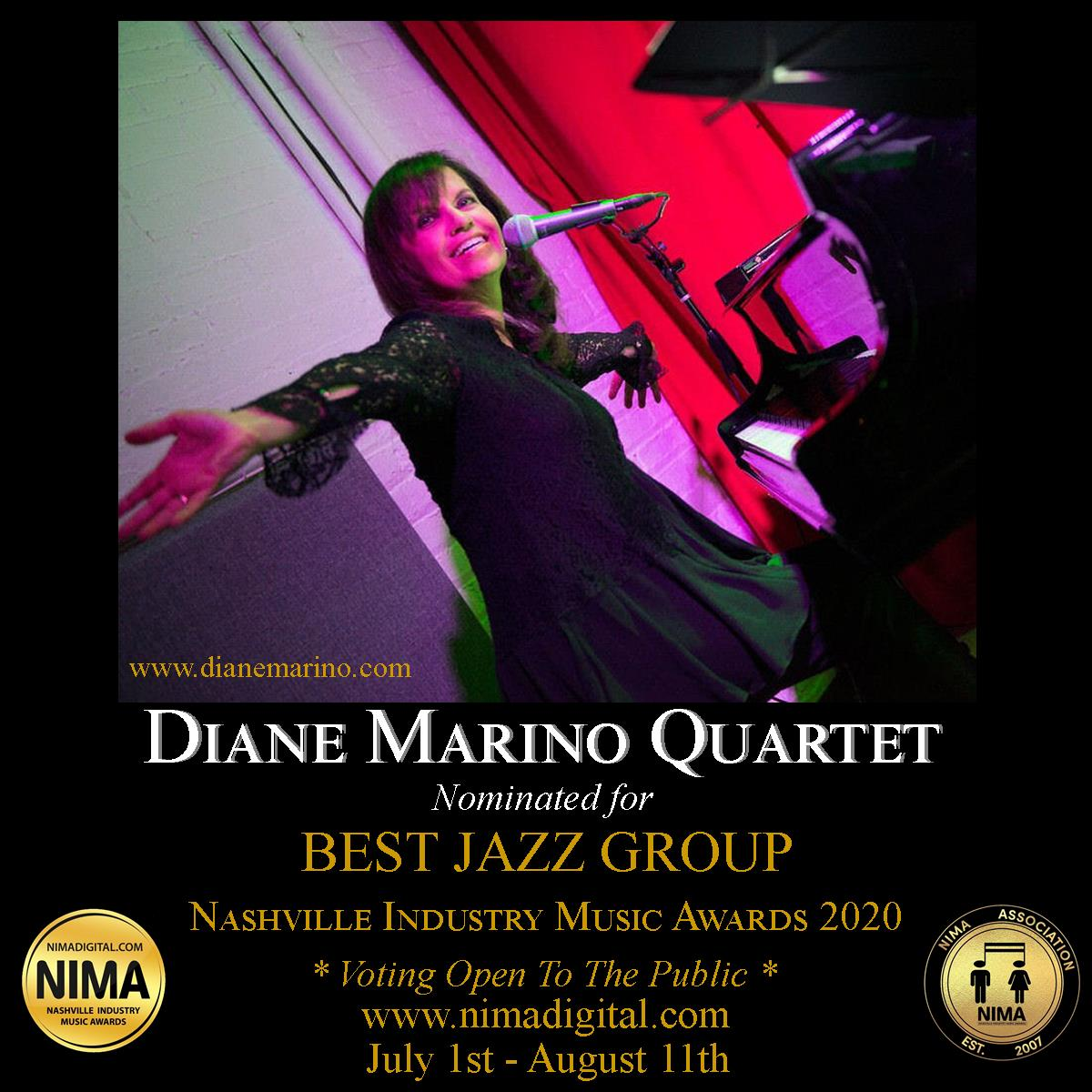 Diane Marino Quartet nominated as Best Jazz Group for Nashville Industry Music Awards 2020