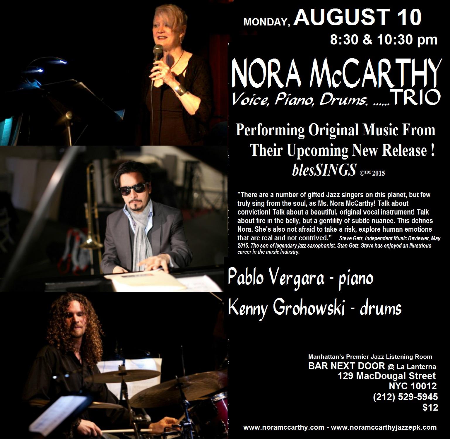 Nora McCarthy - Voice/Piano/Drums Trio