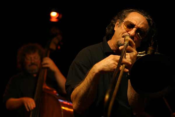 "Glenn Ferris and Leon Francioli with ""Quartet Lindemann-Francioli-Ferris-Everett"" at Amr, Sud Des Alpes, Geneva, Switzerland, 20"