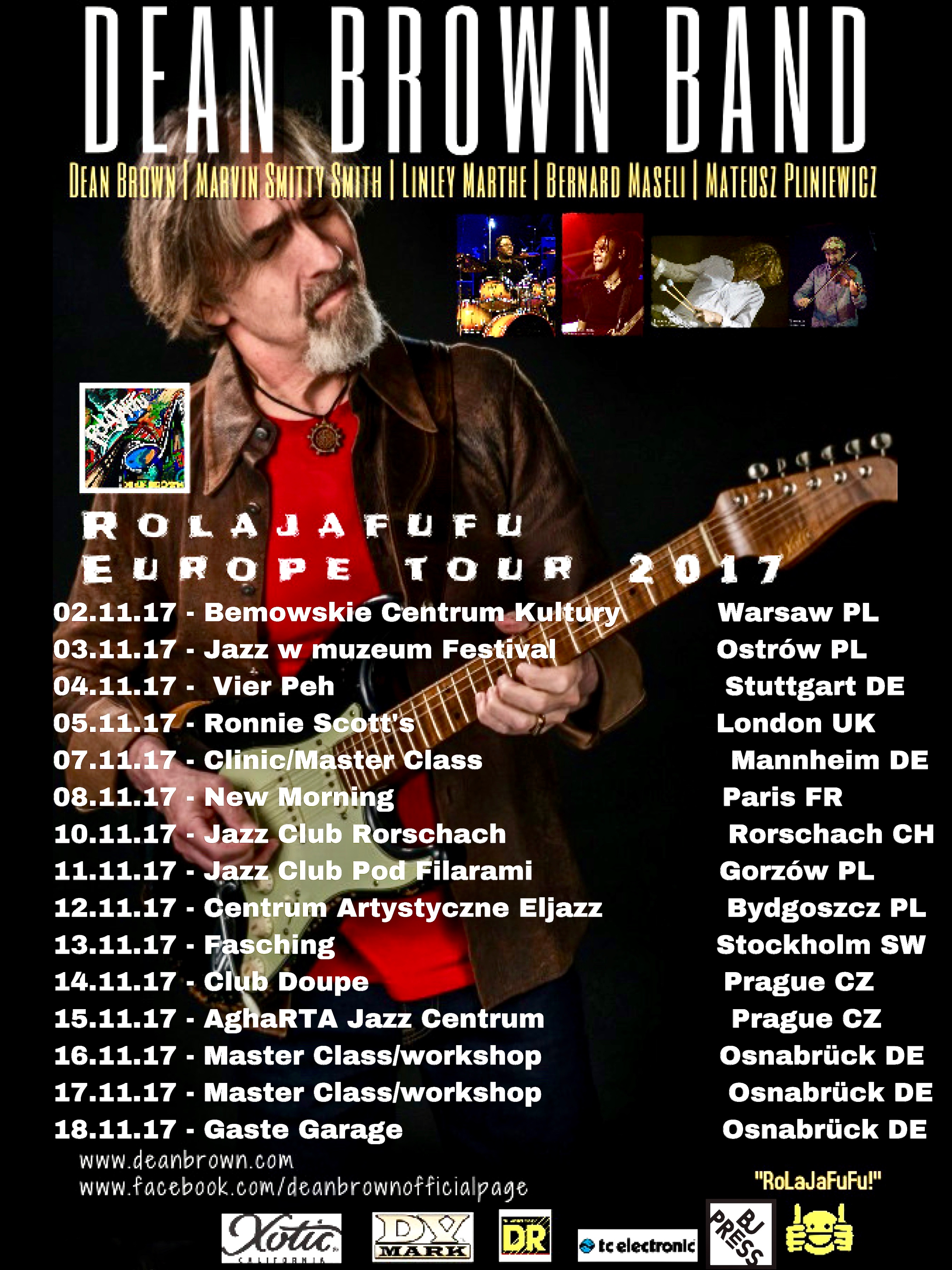 Just Announced! The Dean Brown Band ROLAJAFUFU Fall Tour 2017