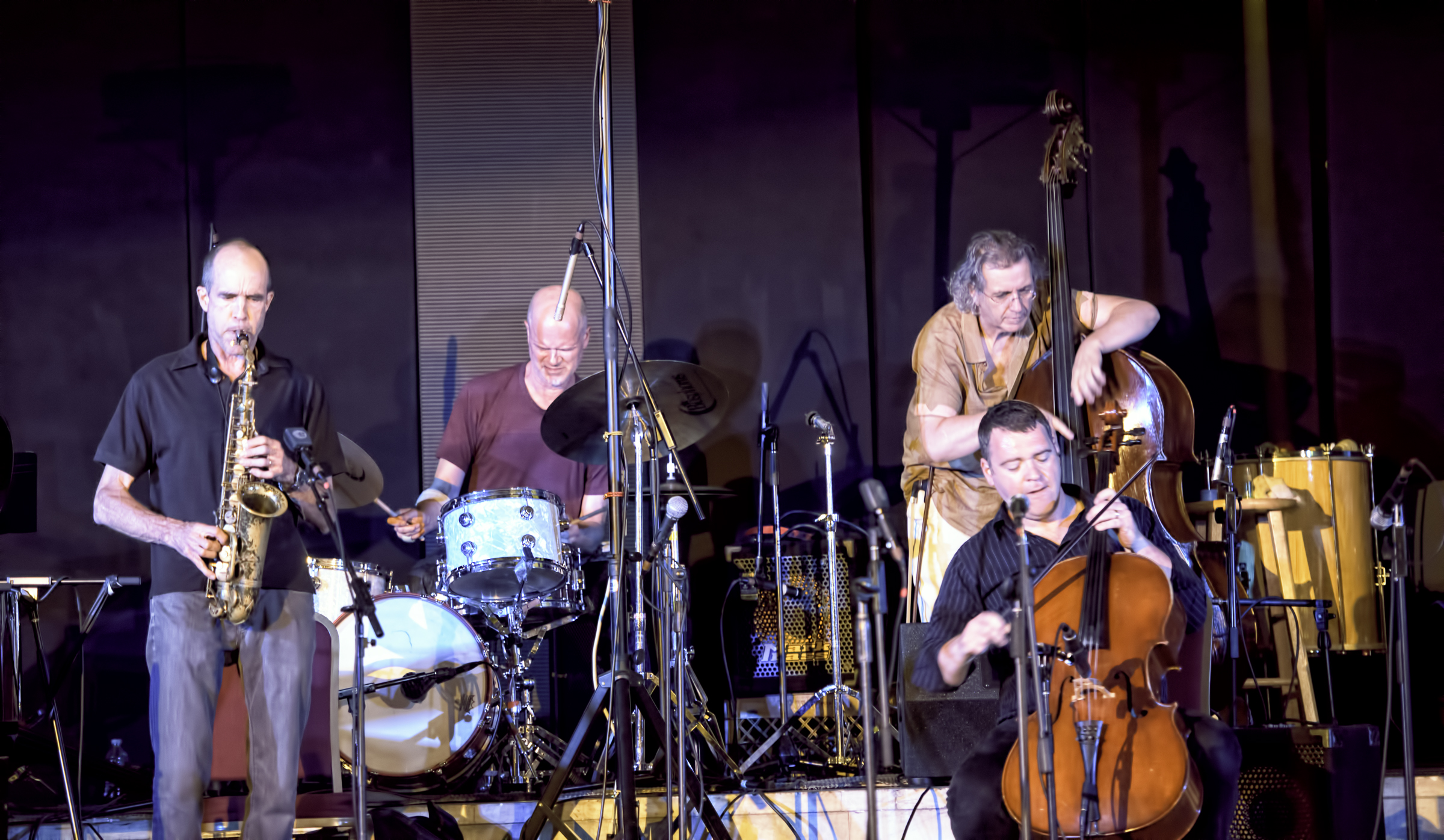 Rob Brown, Whit Dickey, Michael Bisio and Daniel Levin with the Whit Dickey Ensemble Cosmic Breath at the 20th Anniversary Vision Festival 2015