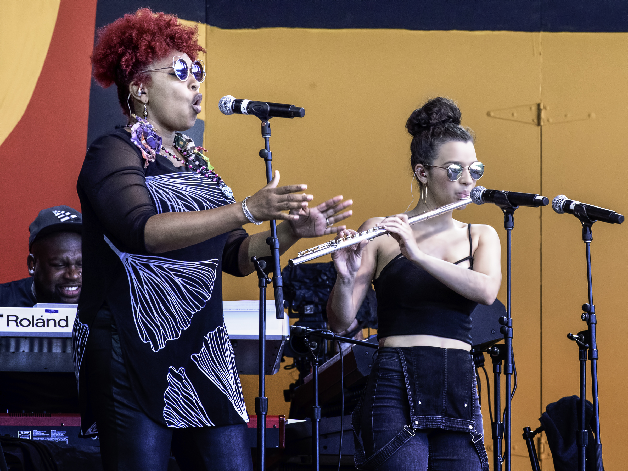 Maimouna Youssef, Elena Pinderhughes with Common at the Monterey jazz Festival