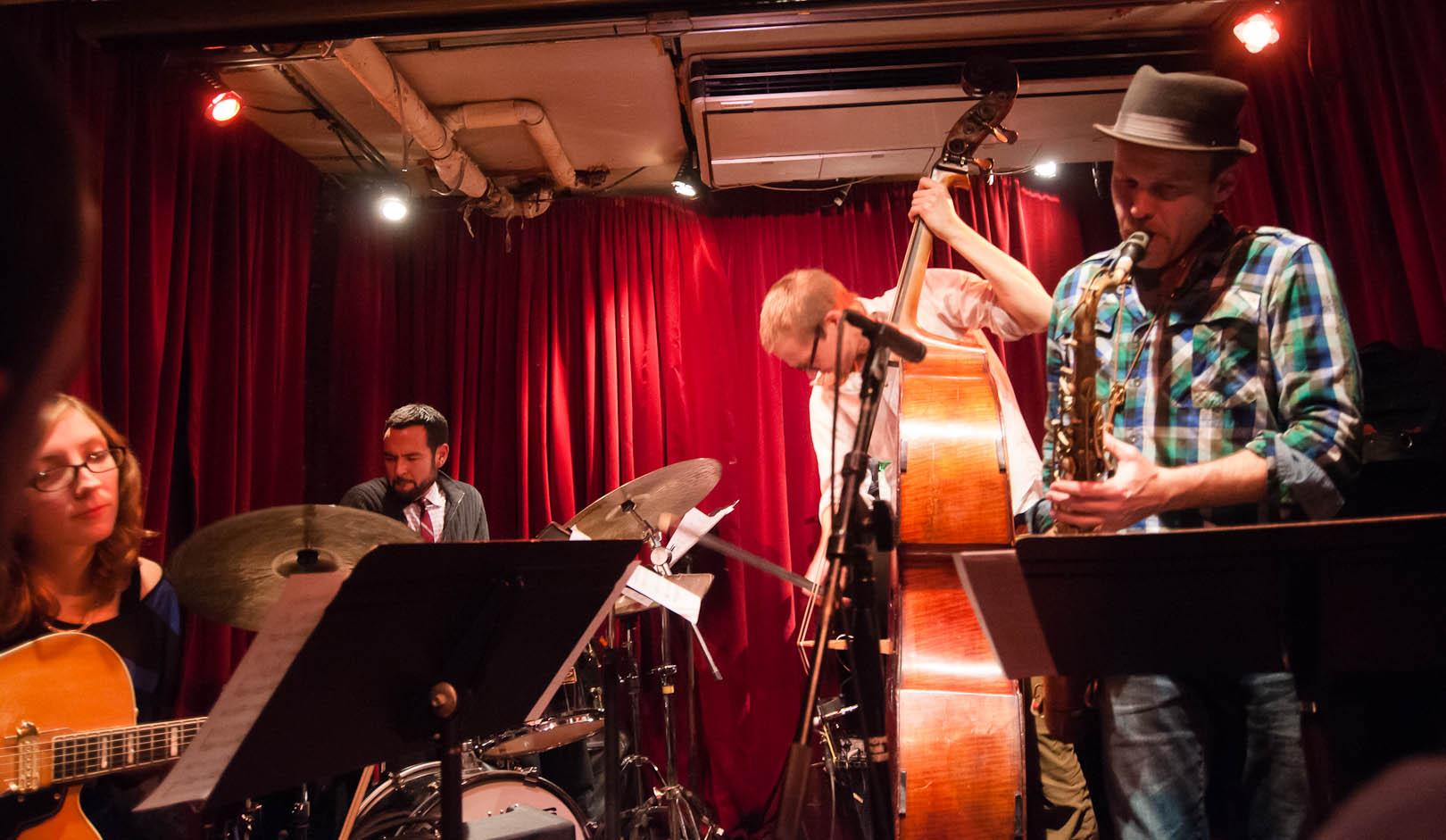 Mary Halvorson, Tomas Fujiwara, Eivind Opsvik, and Chris Speed with Reverse Blue at the Cornelia Street Cafe