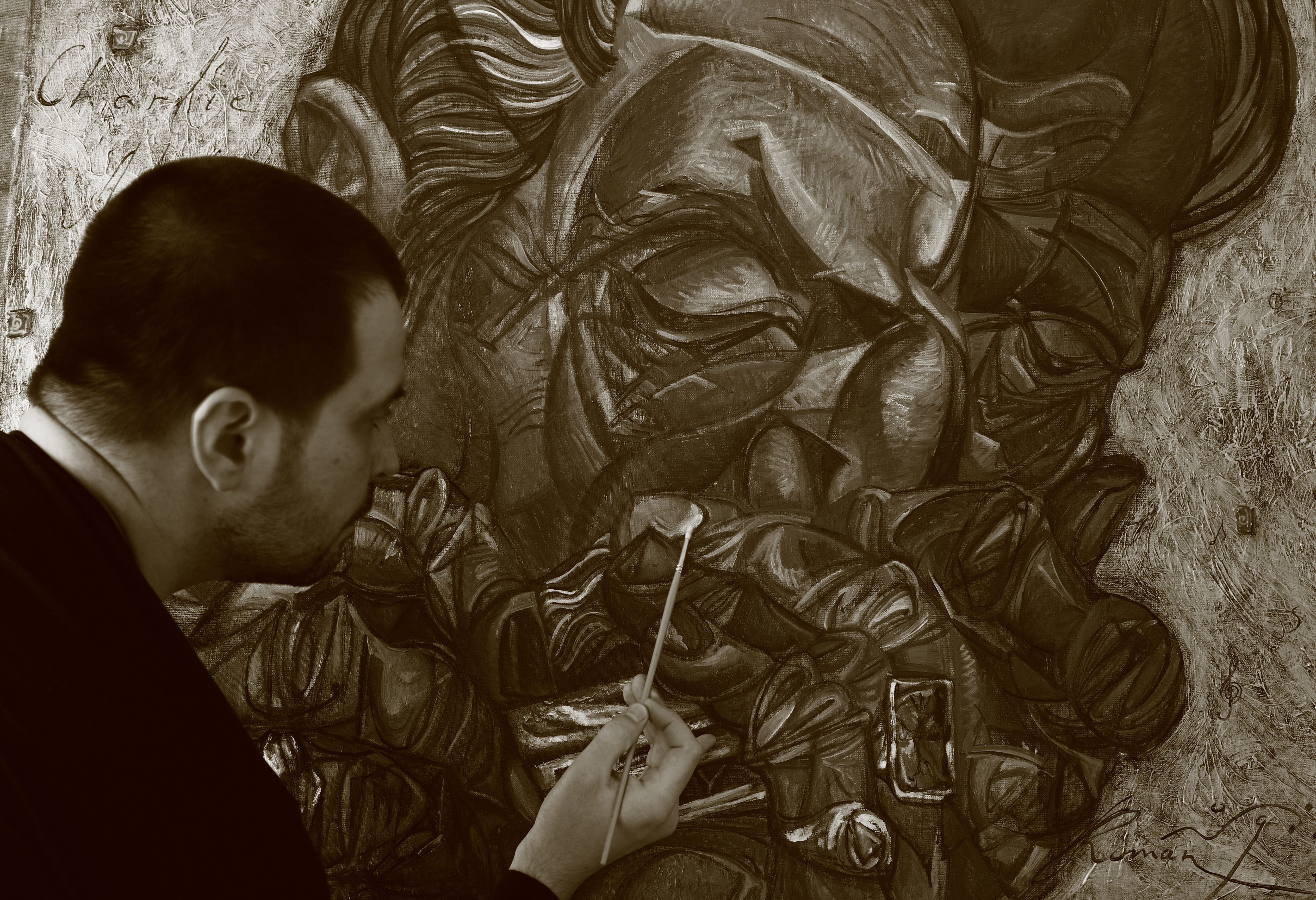 ROMAN NOGIN IN PROCESS OF PAINTING