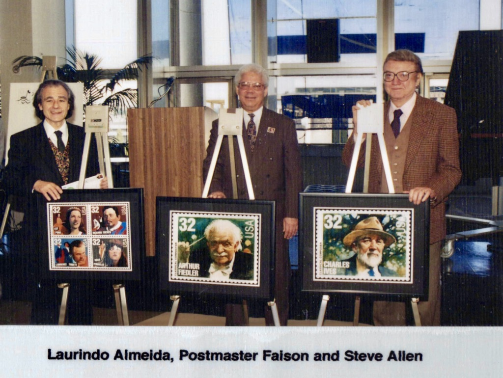 LAMW Honorees Steve Allen, Laurindo Almeida & Postmaster Faison with USPS Musical Legends Stamp Series