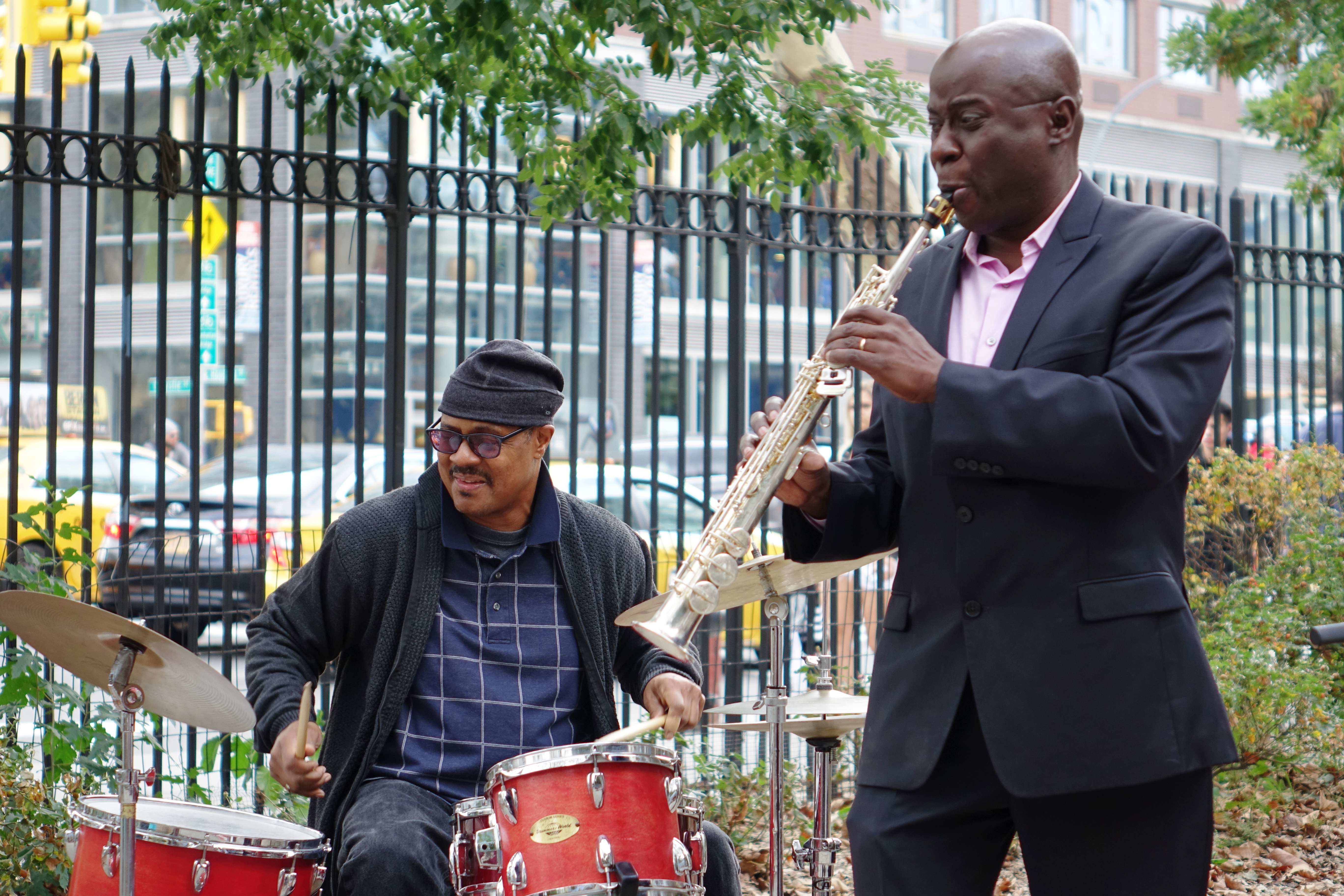 Reggie Nicholson and Sam Newsome at First Street Green, NYC in September 2017