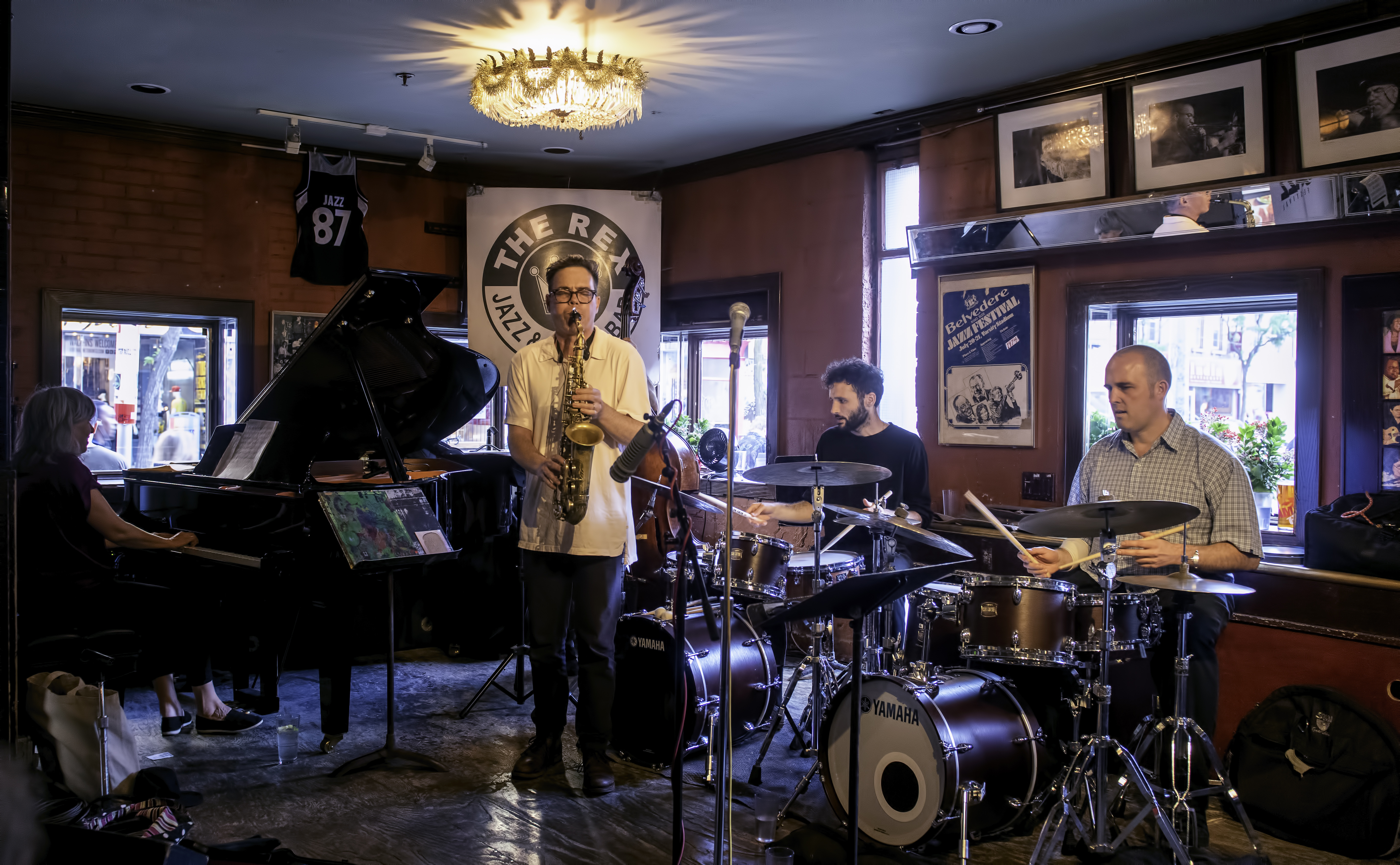 Tania Gill, Brodie West, Evan Cartwright and Nick Fraser with the Brodie West Quintet at the Rex Jazz Bar at the Toronto Jazz Festival 2019