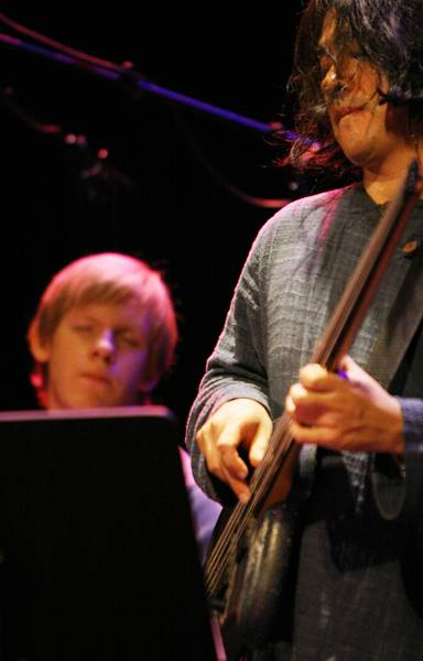 """Stomu Takeishi and Ted Poor with """"Ahmad Mansour - Public Domain"""" at the Amr Jazz Festival, Alhambra, Geneva, Switzerland, April"""