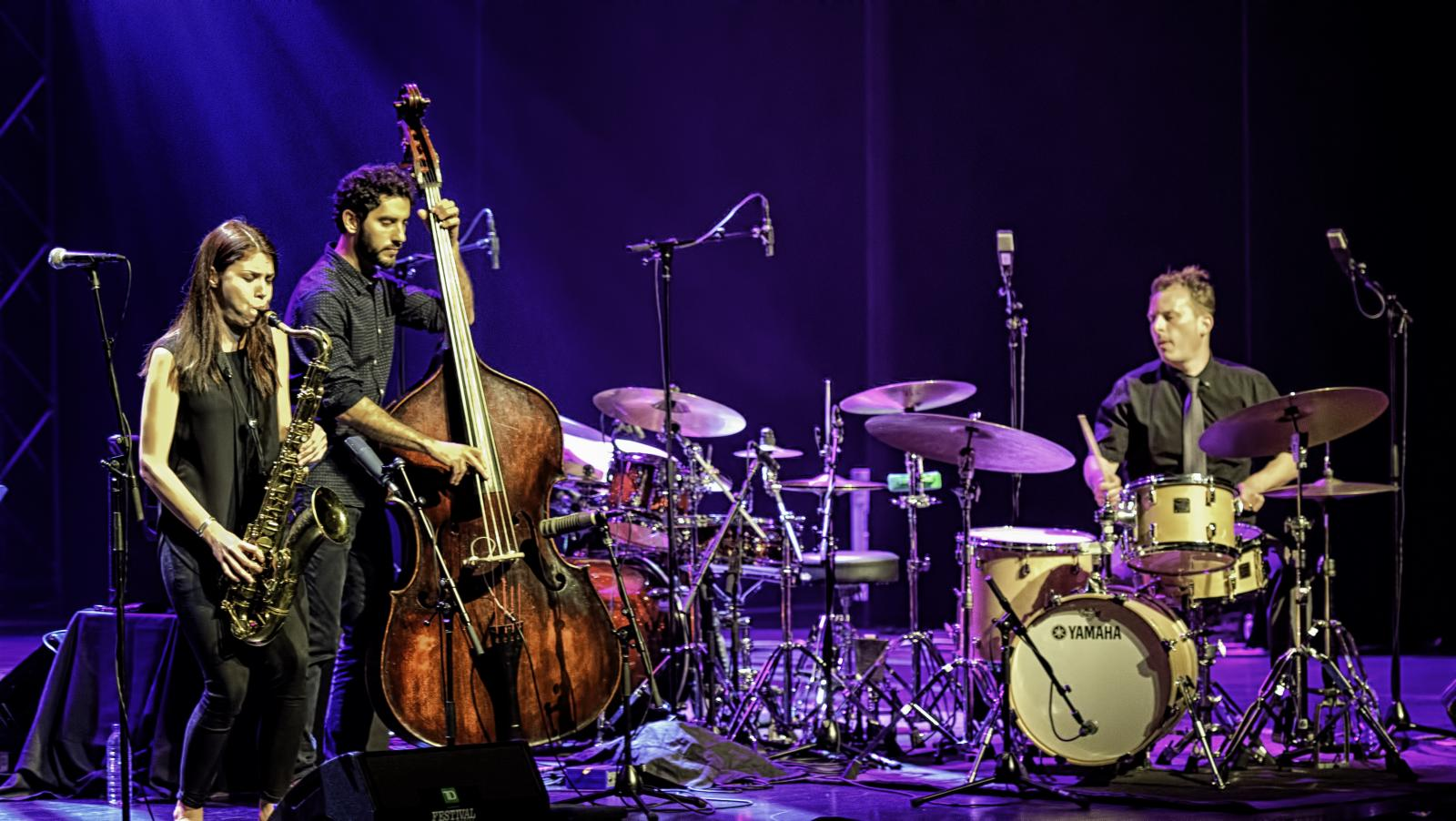 Melissa Aldana, Pablo Menares and Jochen Rueckert at the Montreal International Jazz Festival 2016