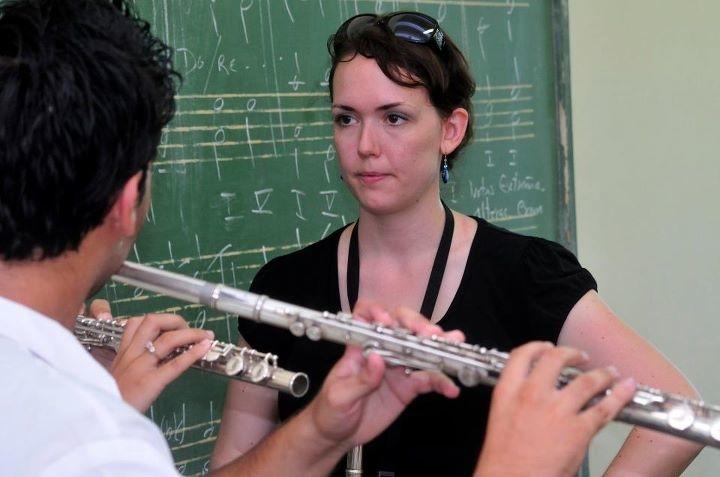 Erica Von Kleist Teaching Flute in Havana, Cuba