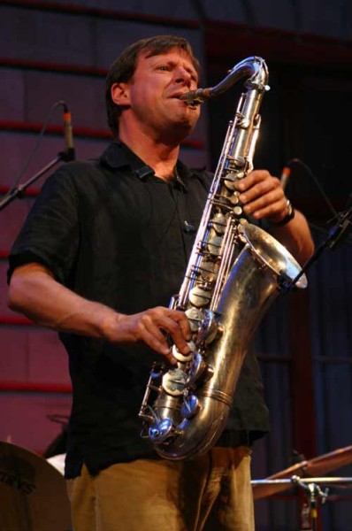 "Chris Potter with ""Chris Potter Underground Group"" at the Cour de L'Hotel de Ville de , Jazz Estival, Geneva, Switzerland, 2004"