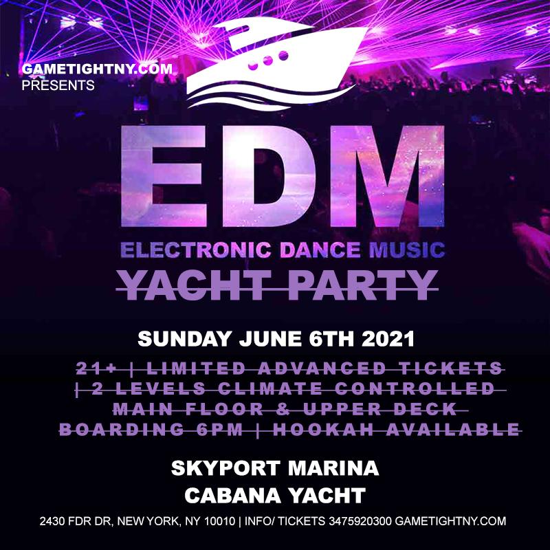 Edm Sunset Yacht Party Cruise Skyport Marina Cabana Yacht 2021