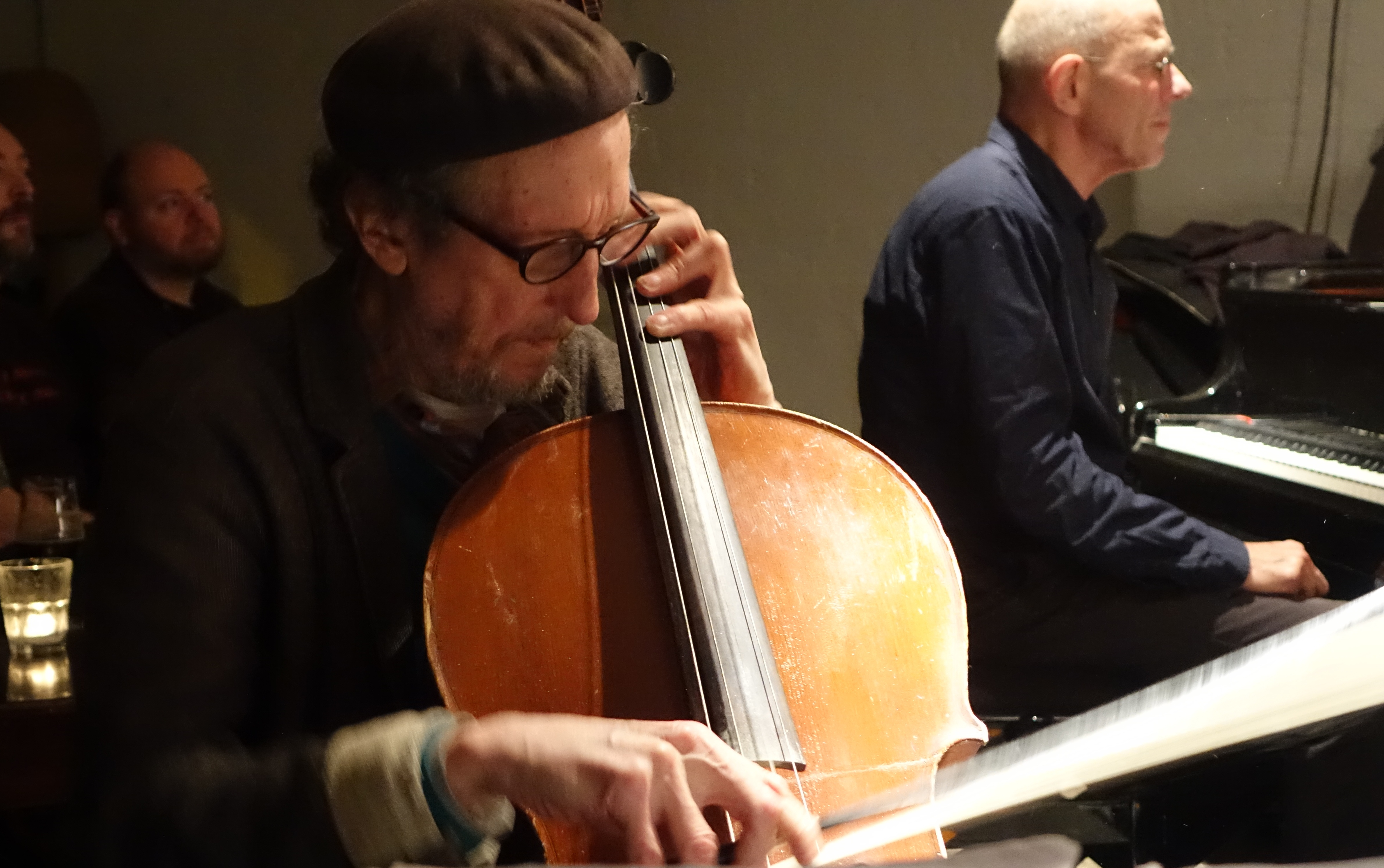Tristan Honsinger and Guus Janssen at Cafe Oto, London in December 2018