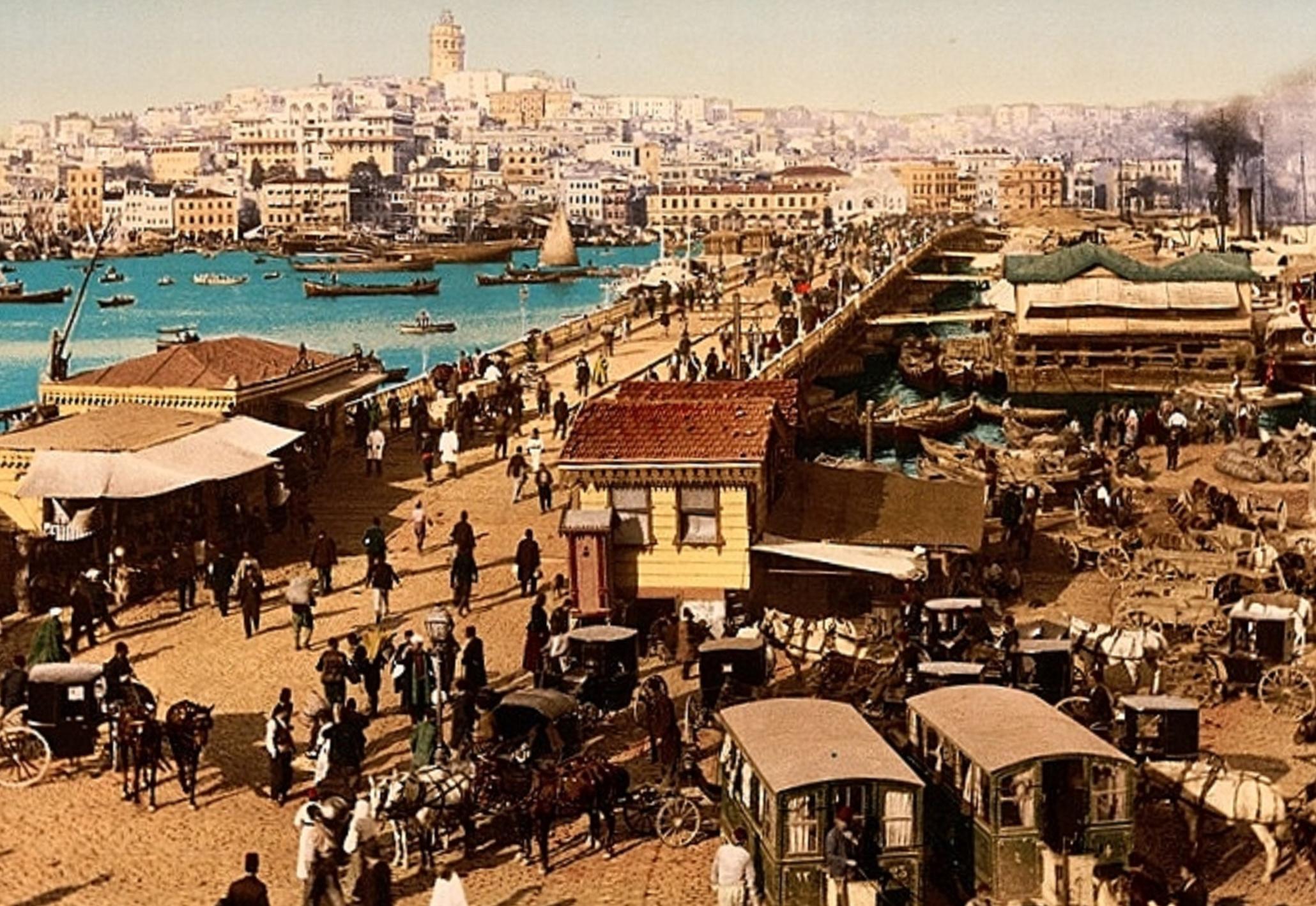 Constantinople 1920s at Galata Bridge