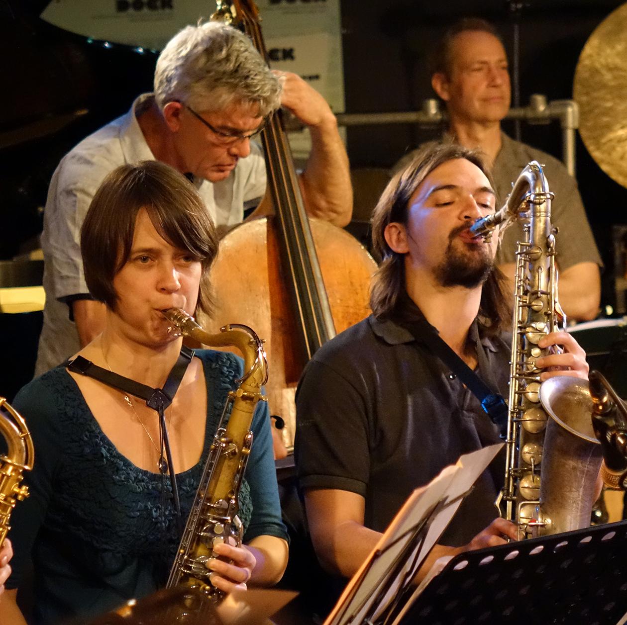 Wilbert de Joode, Michael Vatcher, Ingrid Laubrock, John Dikeman at Doek Festival 2015