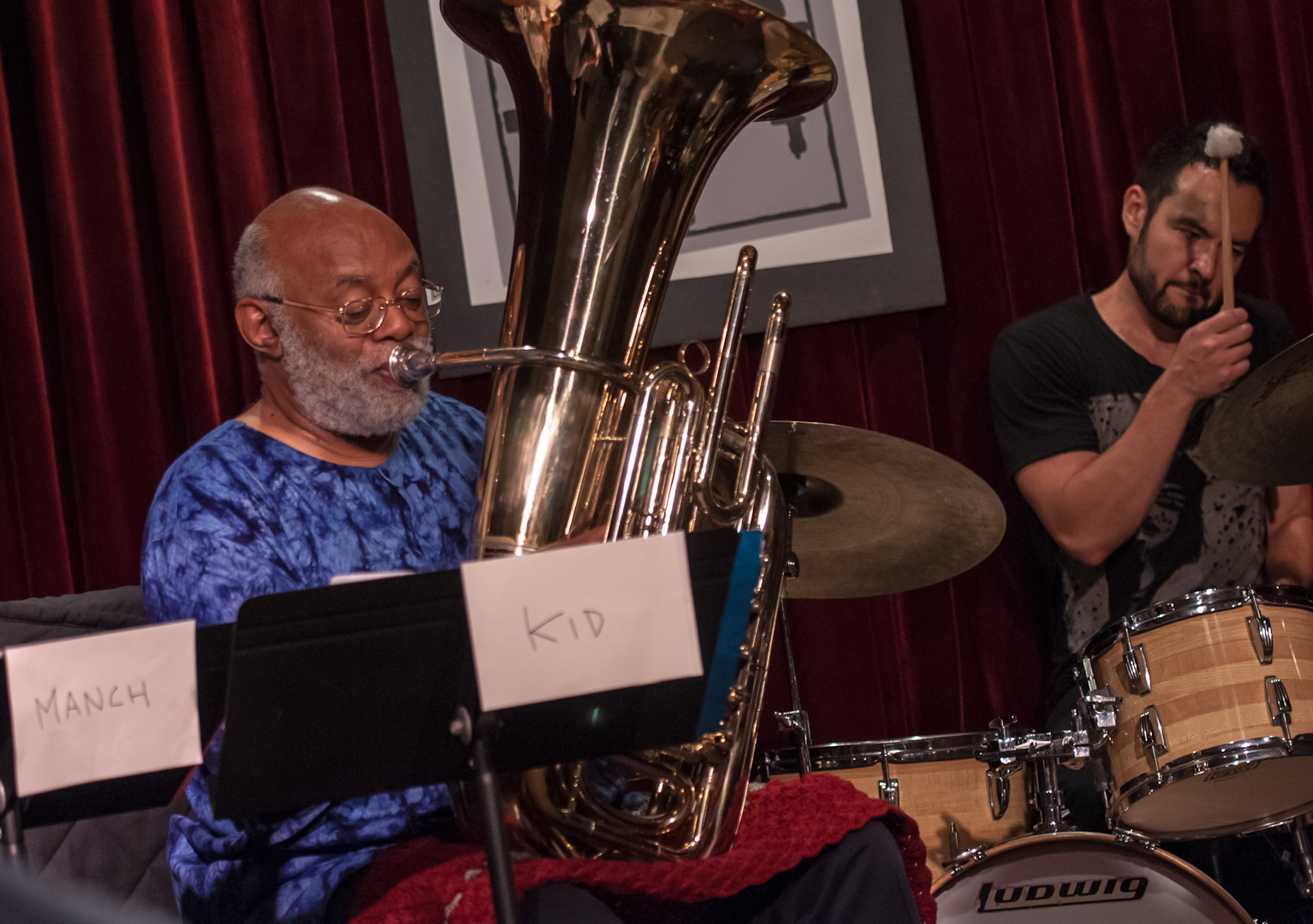 Bill Lowe and Tomas Fujiwara with the Taylor Ho Bynum Septet at the Jazz Gallery
