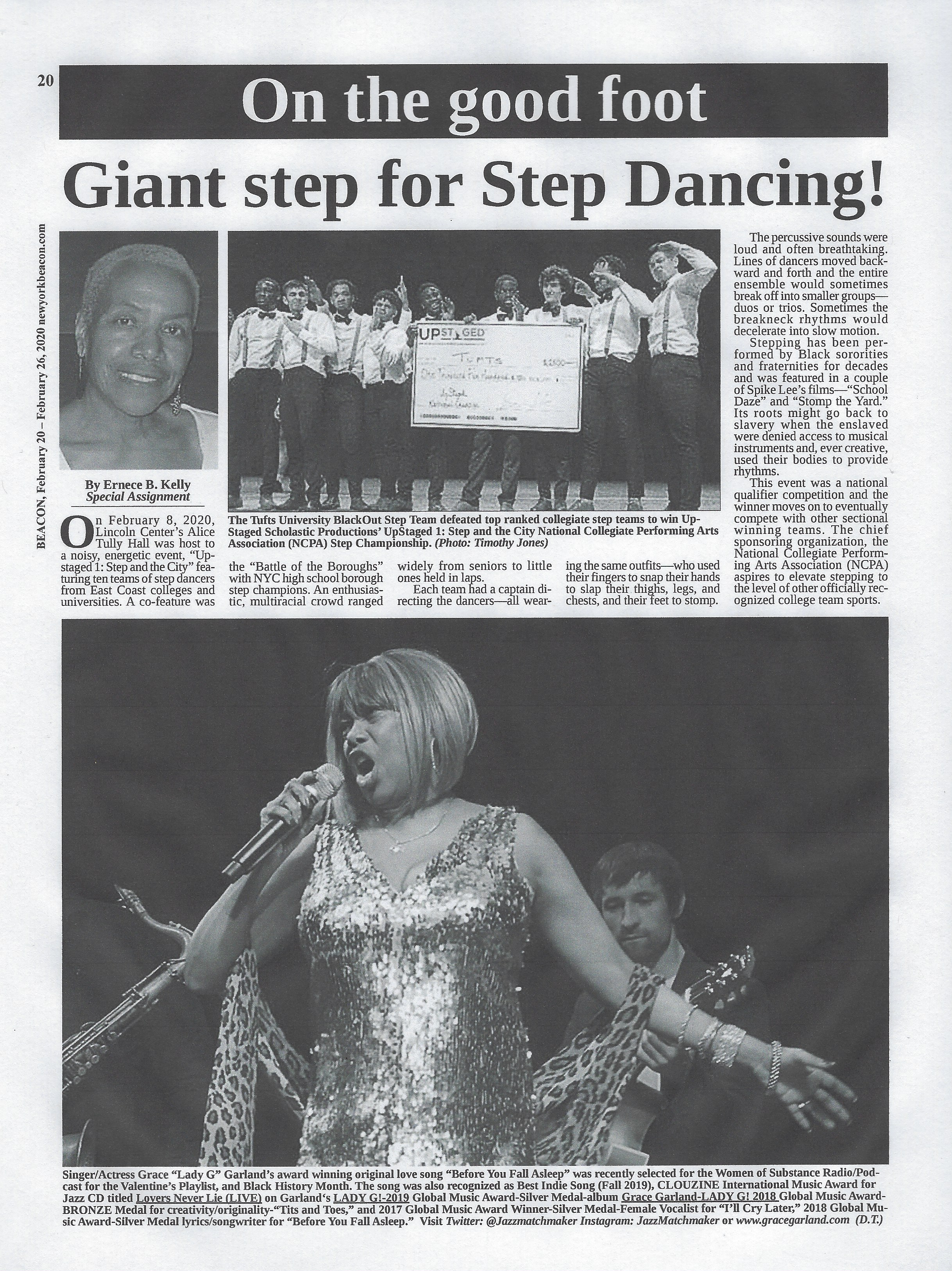 Grace Garland featured in New York Beacon Newspaper