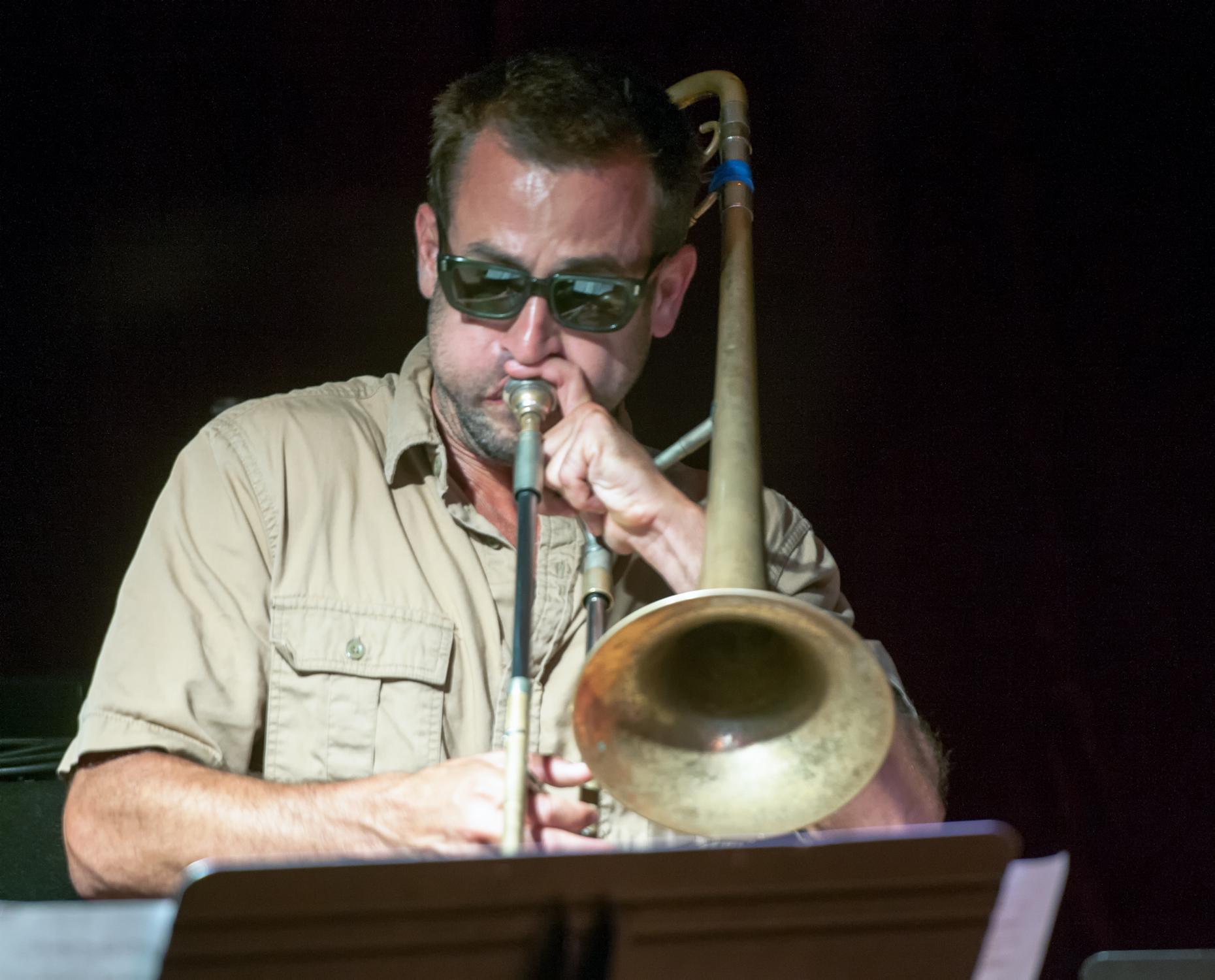Ben Gerstein with the Ingrid Laubrock Quintet at the Jazz Gallery in New York City