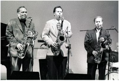 Harry Allen Ken Peplowski, Scott Hamilton 0869034 Brecon Int. Jazz Fest., Wales, UK. Aug. 1998 Images of Jazz