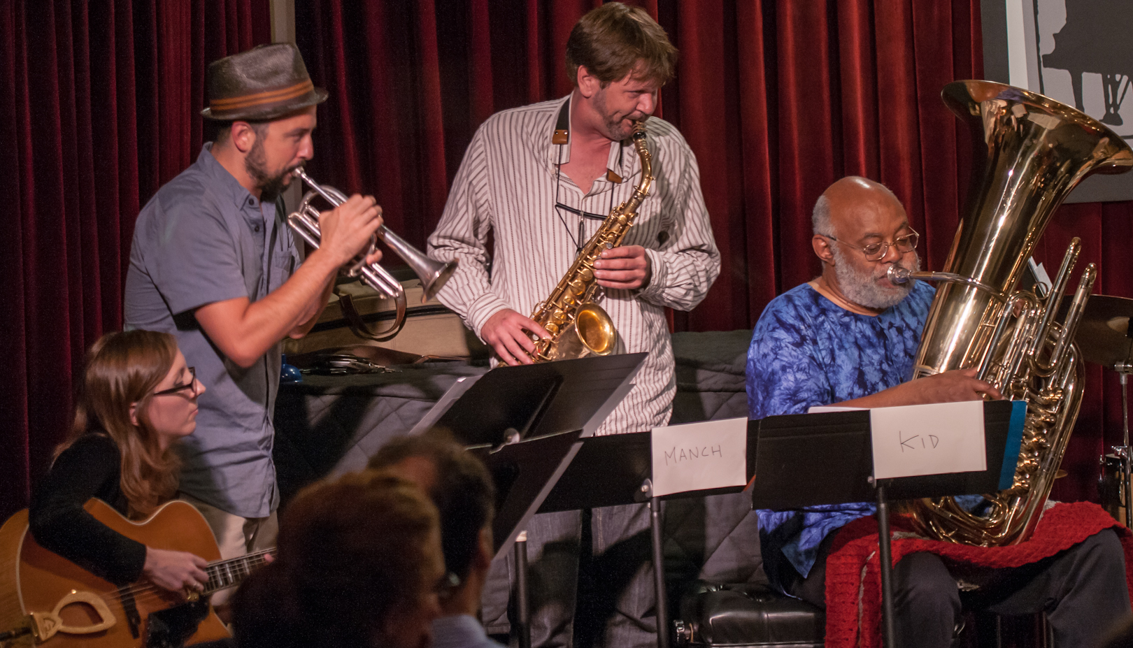 Mary Halvorson, Taylor Ho Bynum, Jim Hobbs and Bill Lowe with the Taylor Ho Bynum Septet at the Jazz Gallery