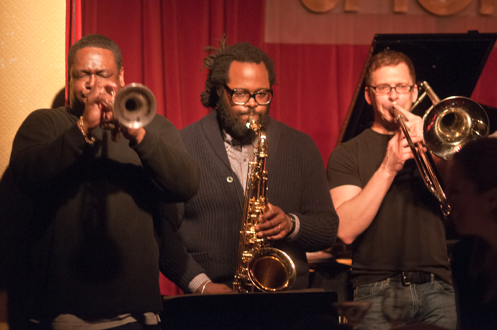 Freddie Hendrix, Jason Marshall and David Gibson with Nickle and Dime Ops at Smoke Jazz Club