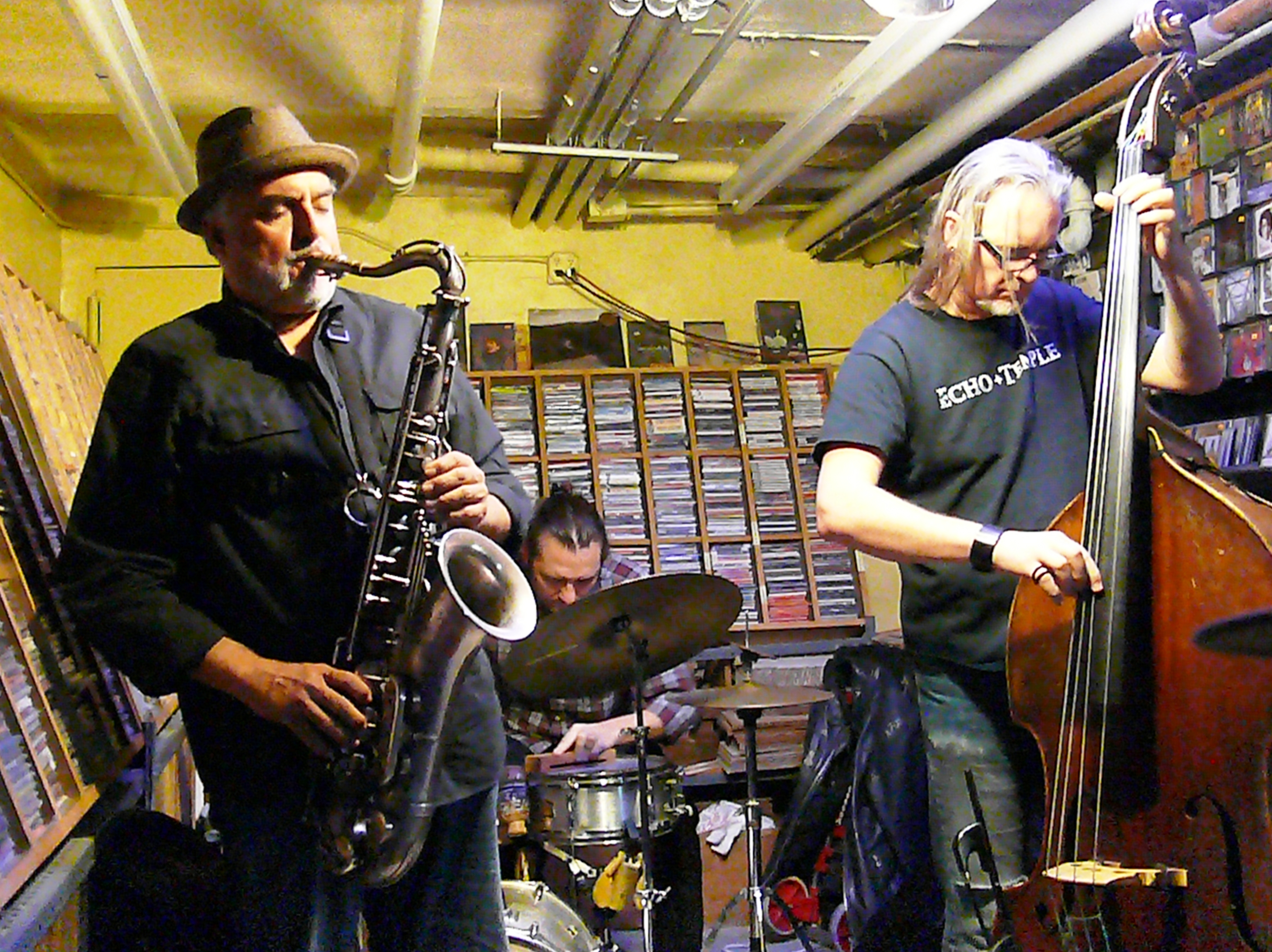 Tony Malaby, Joe Hertenstein and Thomas Helton at Downtown Music Gallery, NYC in October 2016