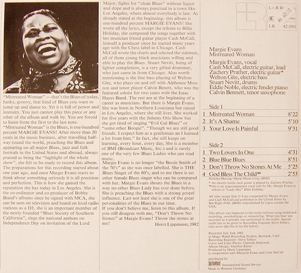 Margie Evans, Mistreated Woman Album Cover