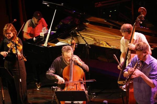 "Mary Oliver, Misha Mengelberg, Tristan Honsinger, Ernst Glerum and Thomas Heberer with the ""ICP Orchestra"" at the Amr Jazz Festi"