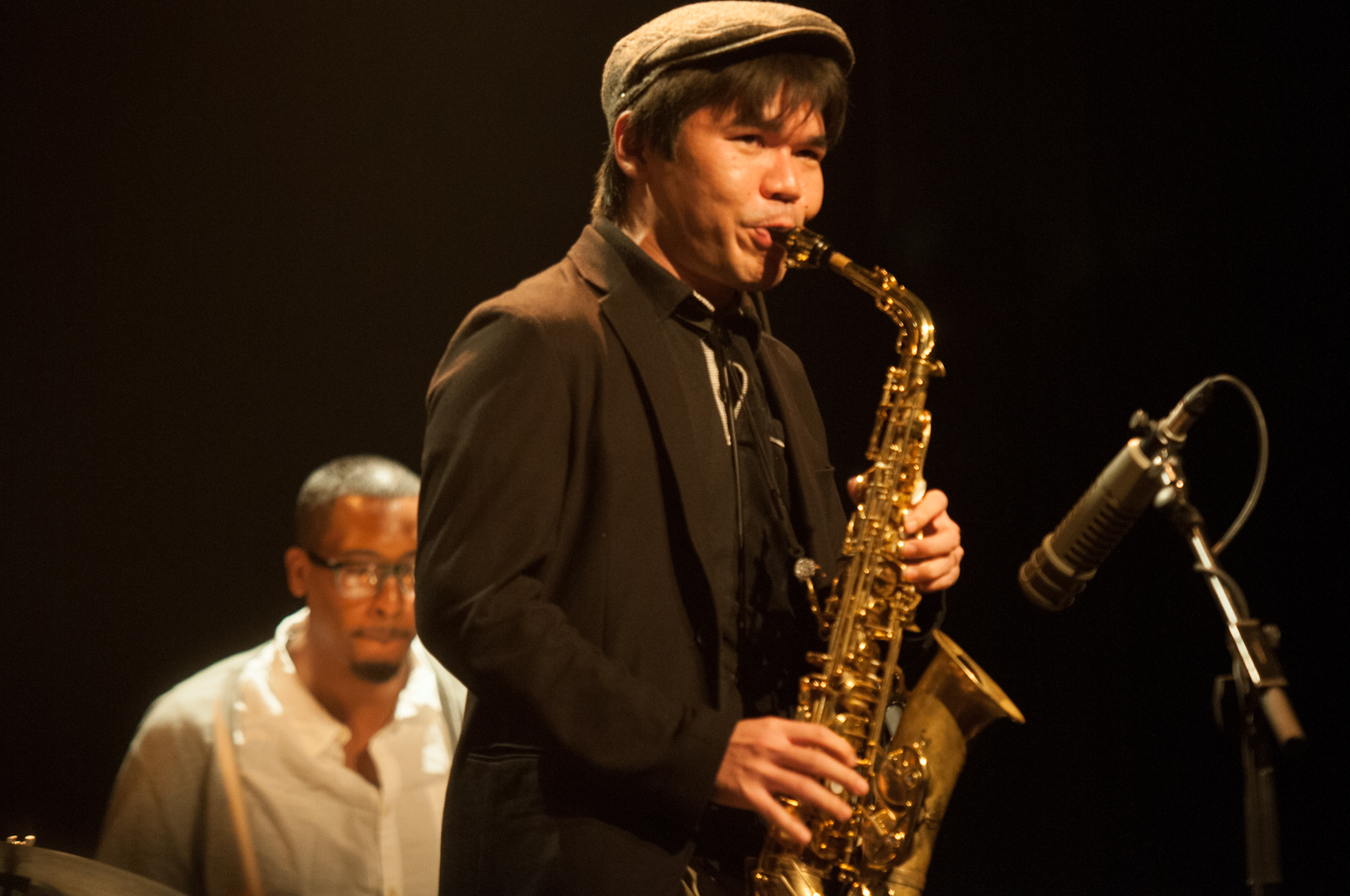 Yosuke Sato And Harold Emanuel With Gregory Porter At The Montreal International Jazz Festival 2012
