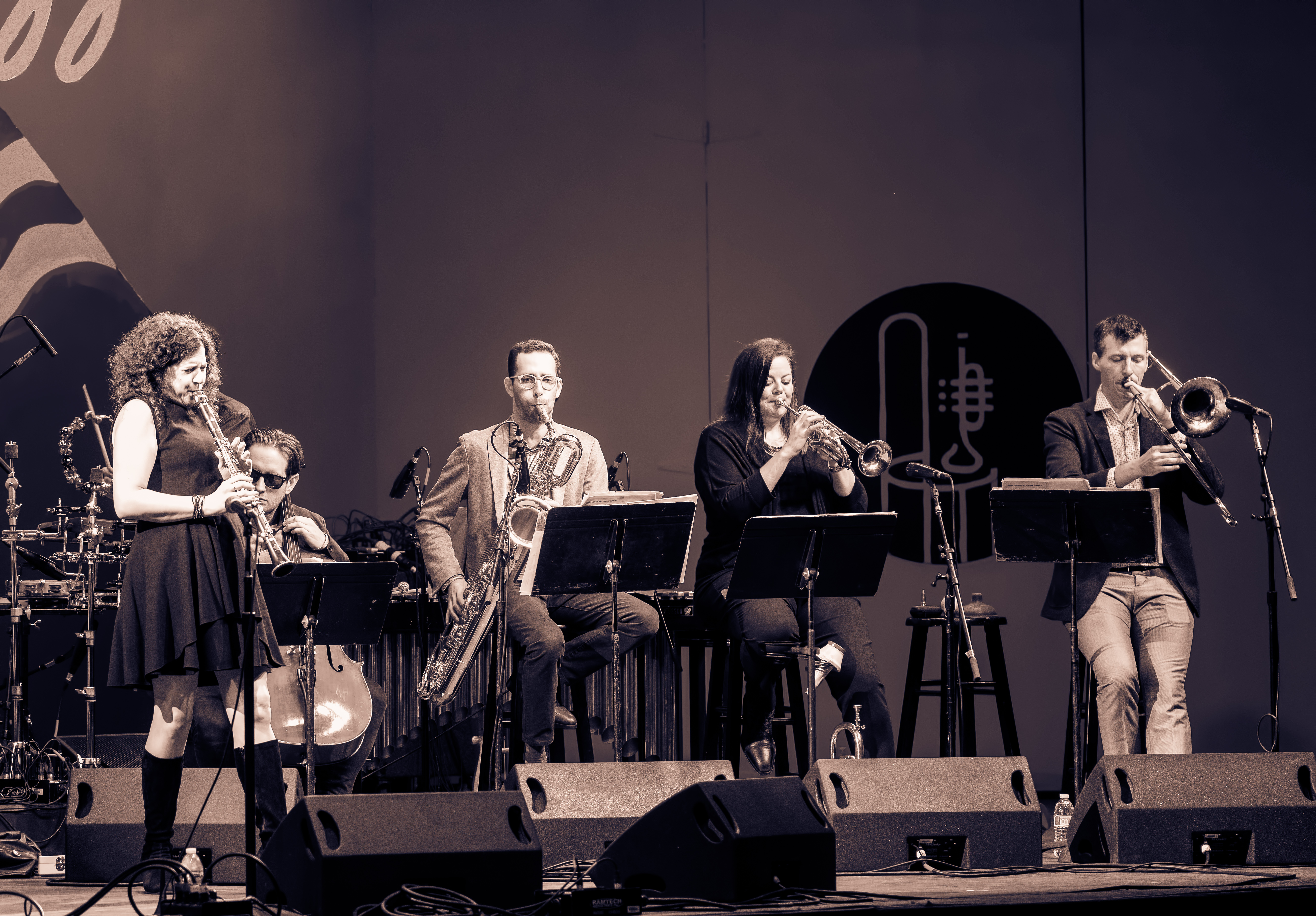 Anat Cohen, Christopher Hoffman, Owen Broder, Nadje Noordhuis and Nick Finzer with the Anat Cohen Tentet at the Monterey Jazz Festival 2018