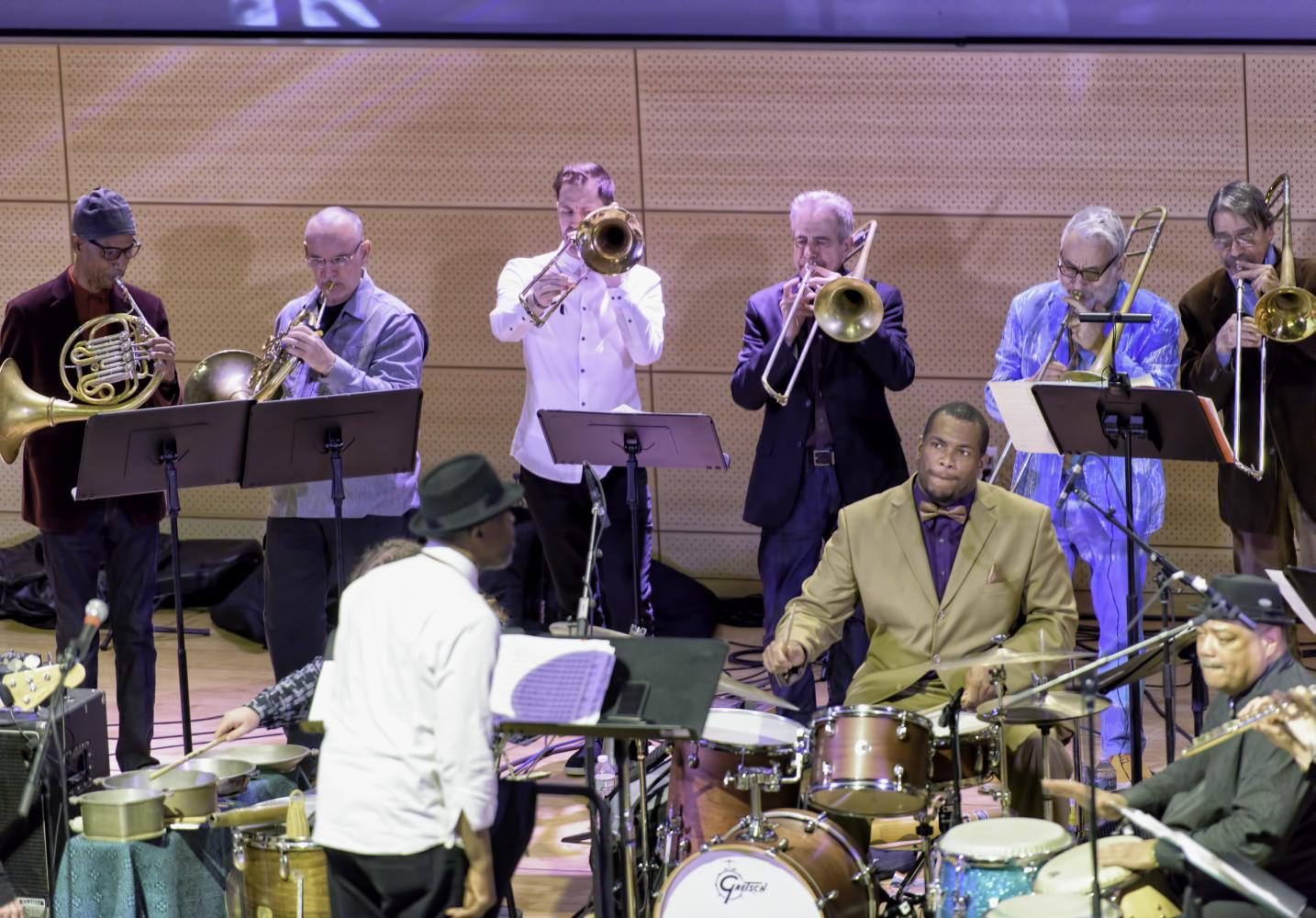 Vincent Chancey, John Clark, Dick Griffin, Joseph Daley, Steve Swell, Brett Sroka, Avram Fefer, Baba Donn Babatunde, Kahlil Bell and Andrew Drury with Craig Harris and Breathe at the NYC Winter Jazzfest 2017