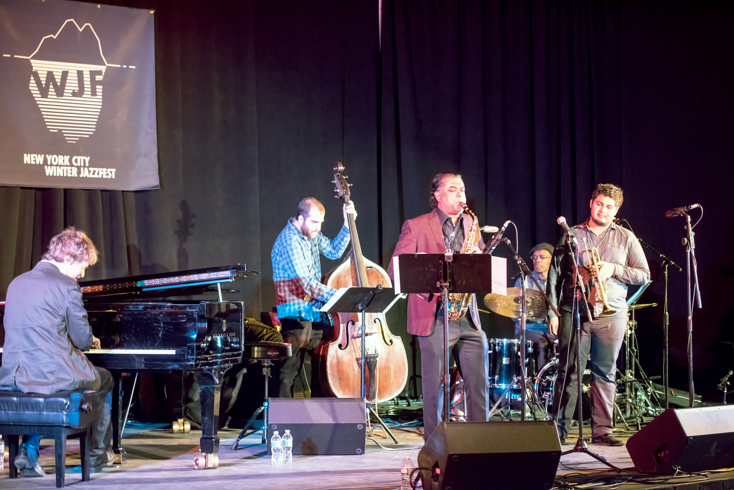 Matt Mitchell, Chris Tordini, Rudresh Mahanthappa, Adam O'farril and Rudy Royston with Rudresh Mahanthappa's Bird Calls (the Charlie Parker Project) at the Nyc Winter Jazzfest 2015