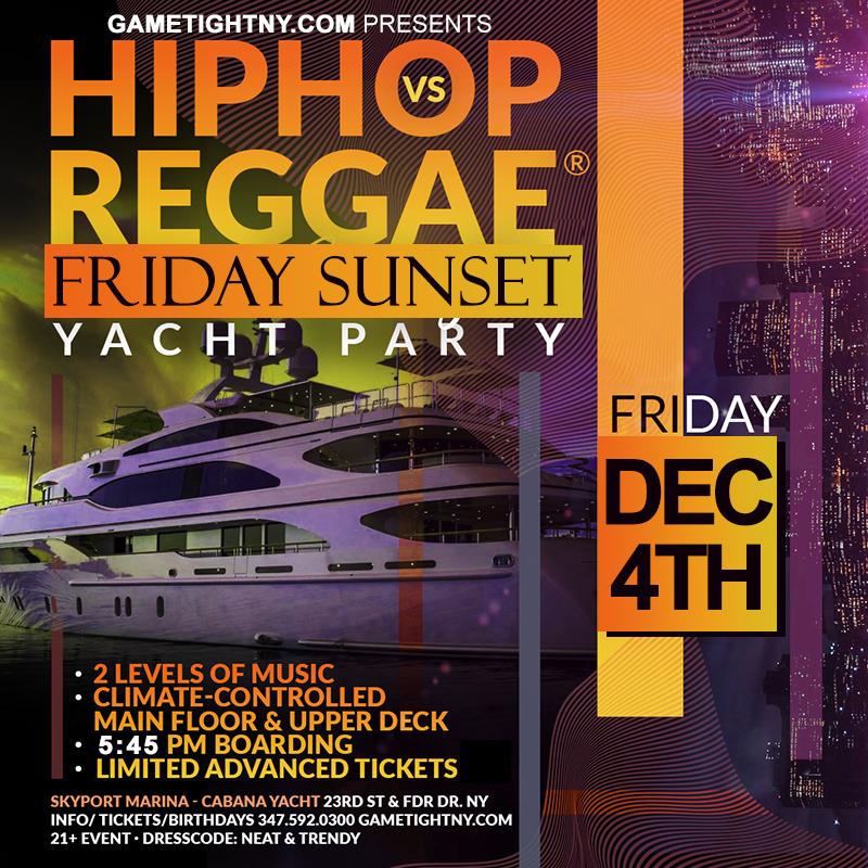 Ny Hip Hop Vs Reggae® Sunset Cruise Skyport Marina Cabana Yacht