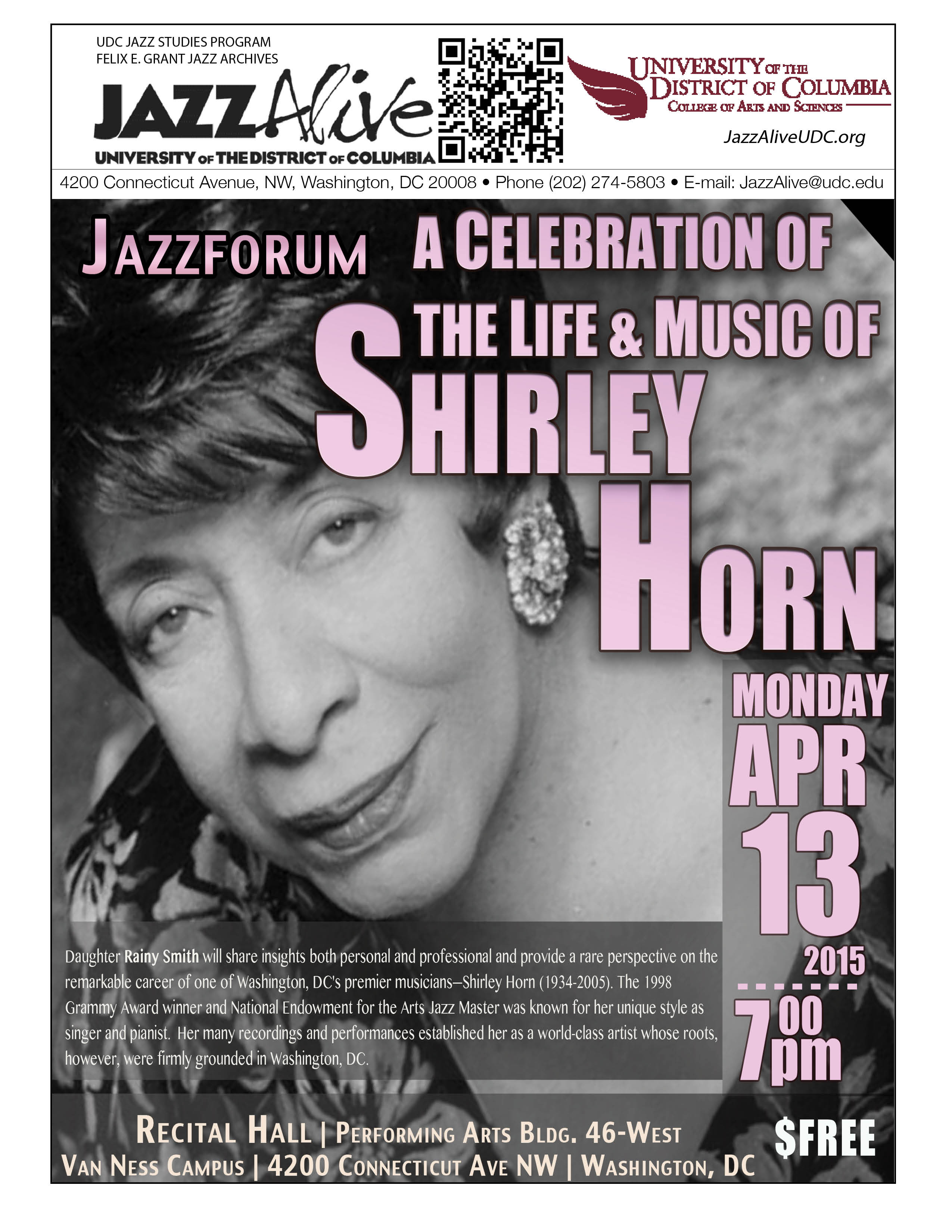 Jazzforum: a Celebration of the Life & Music of Shirley Horn - Monday, April 13, 2015, 7:00pm