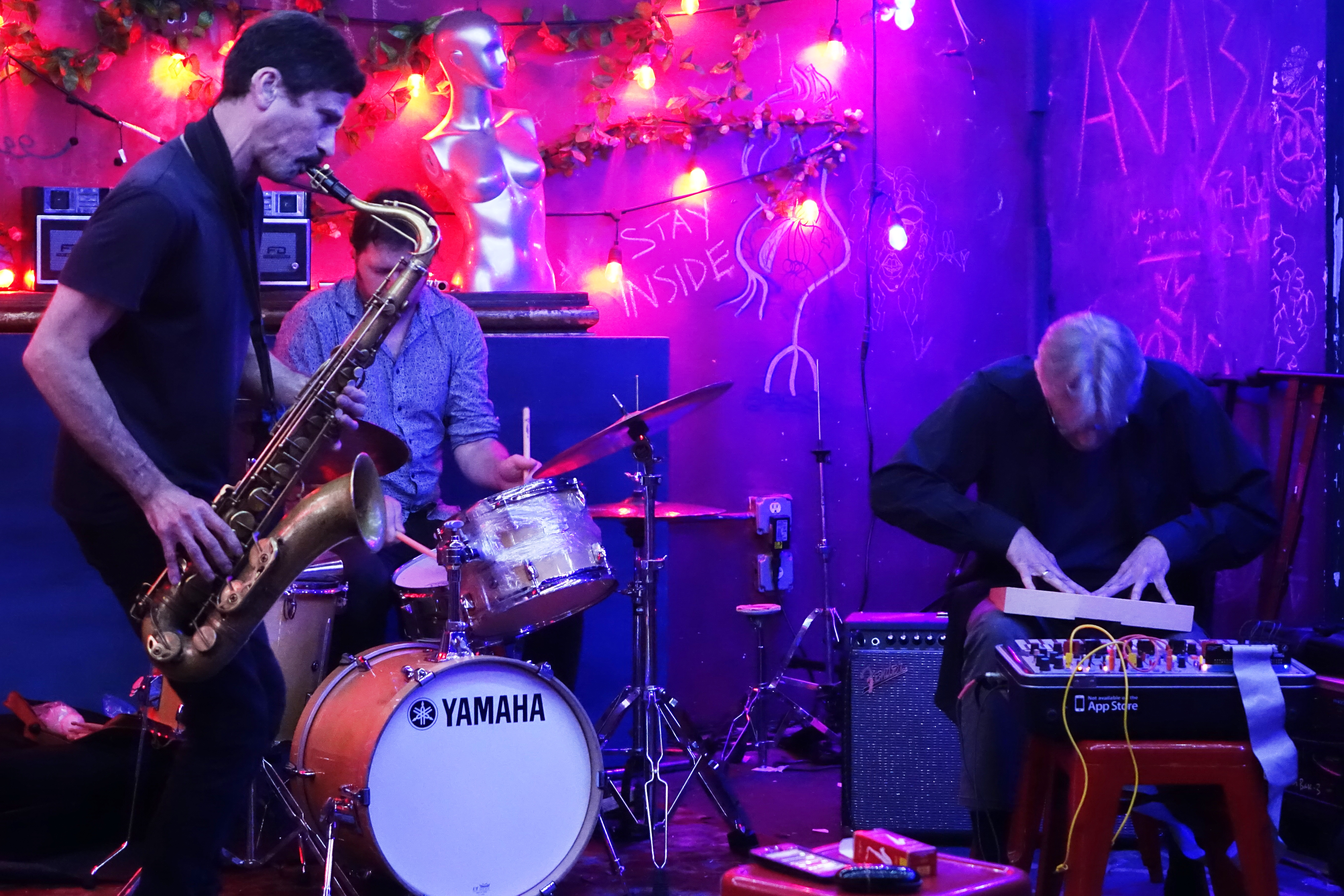 Stephen Gauci, Jeremy Carlstedt and Hans Tammen at the Bushwick Public House, Brooklyn in June 2019