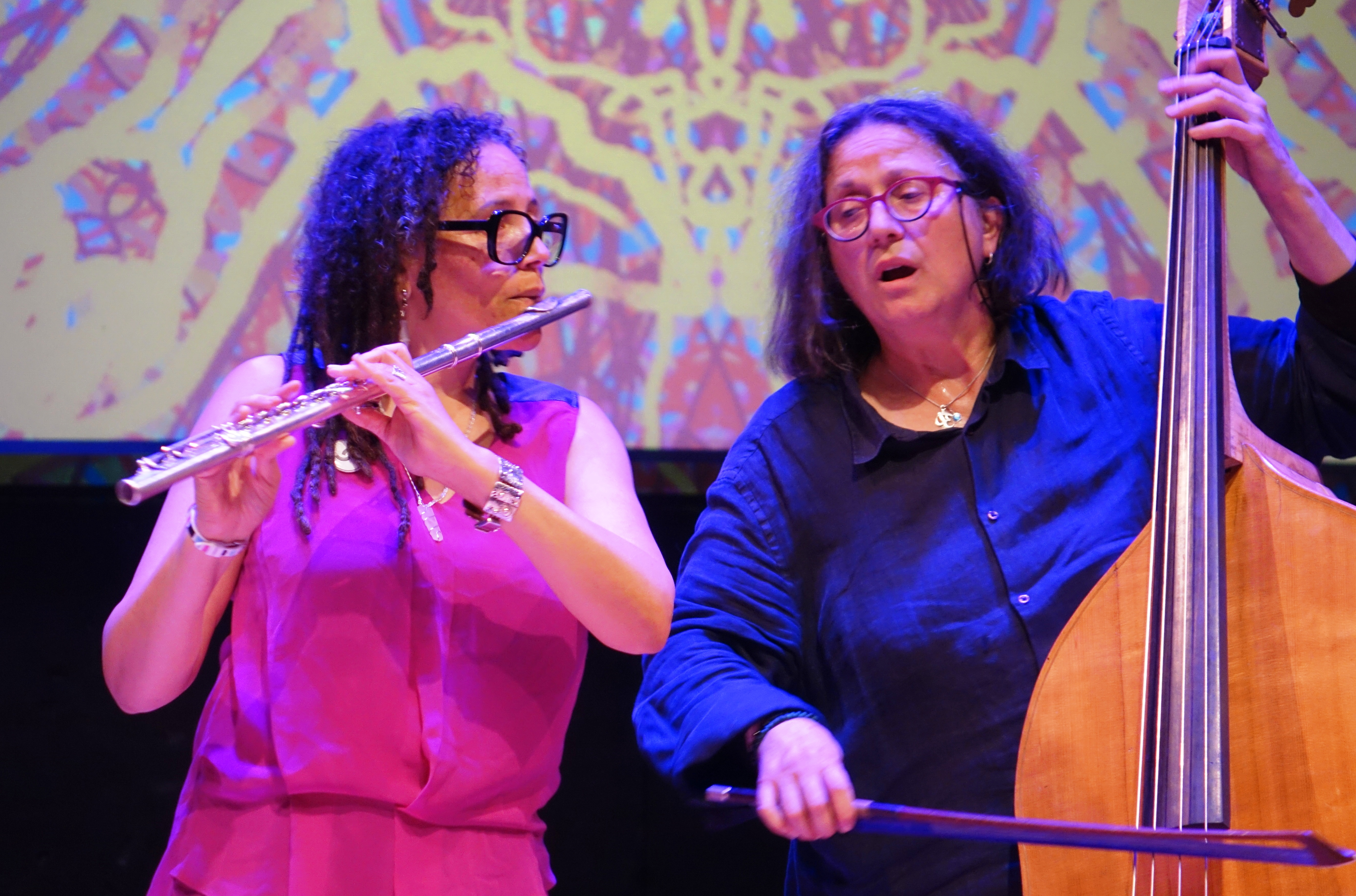 Nicole Mitchell and Joelle Leandre at Roulette, Brooklyn in May 2018
