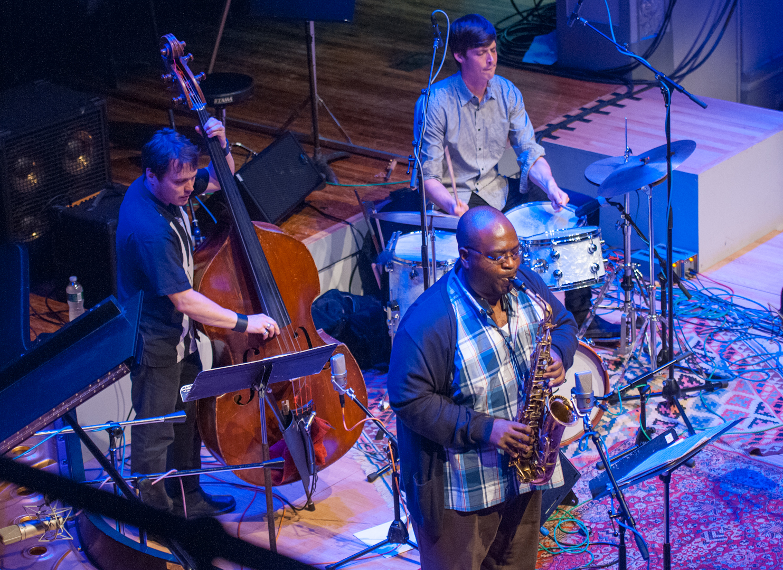 Darius Jones, Trevor Dunn and Ches Smith with the Darius Jones Quintet at the Vision Festival 2012