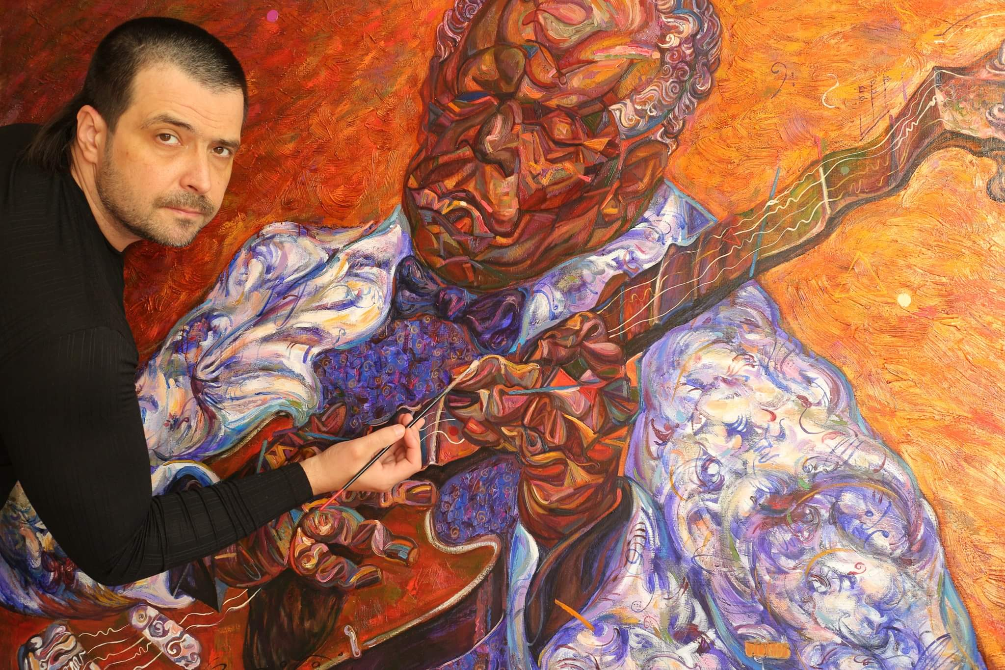 B.B.KING . work in progress,artist ROMAN NOGIN.