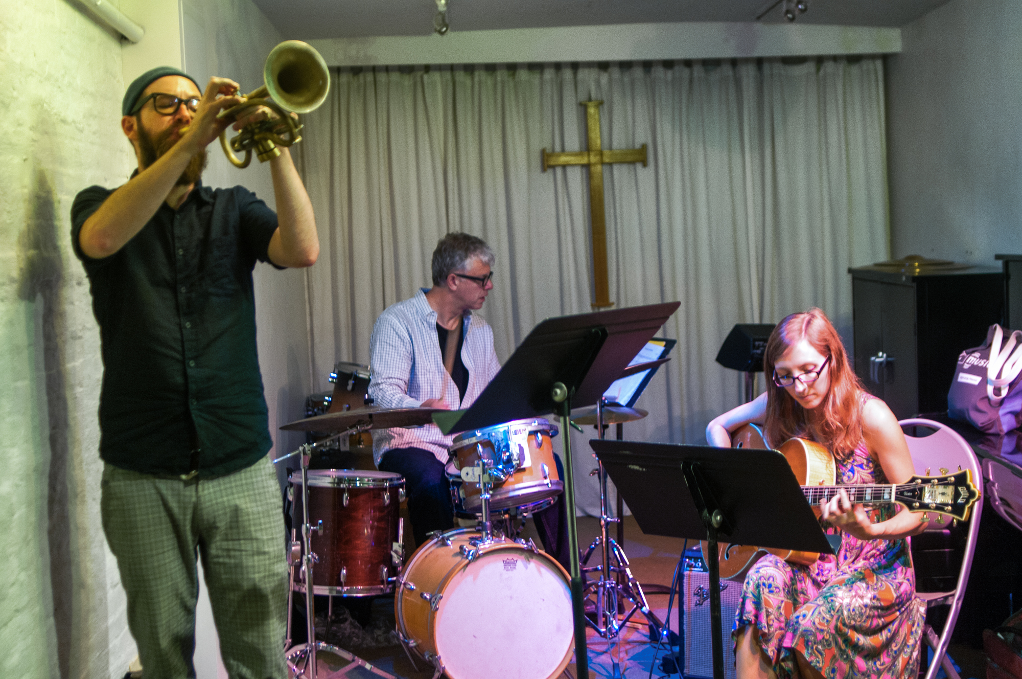 Kirk knuffke, matt wilson and mary halvorson with sifter at the neighborhood church of greenwich village